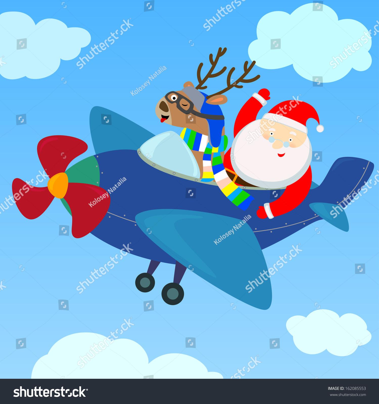 santa deer flying on airplane stock illustration 162085553