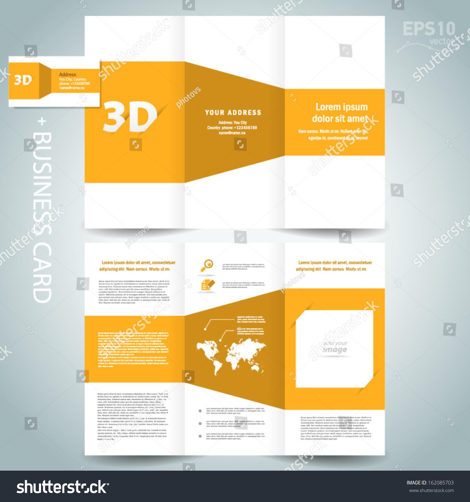 3d dimensional design brochure template folder leaflet for 3d brochure design