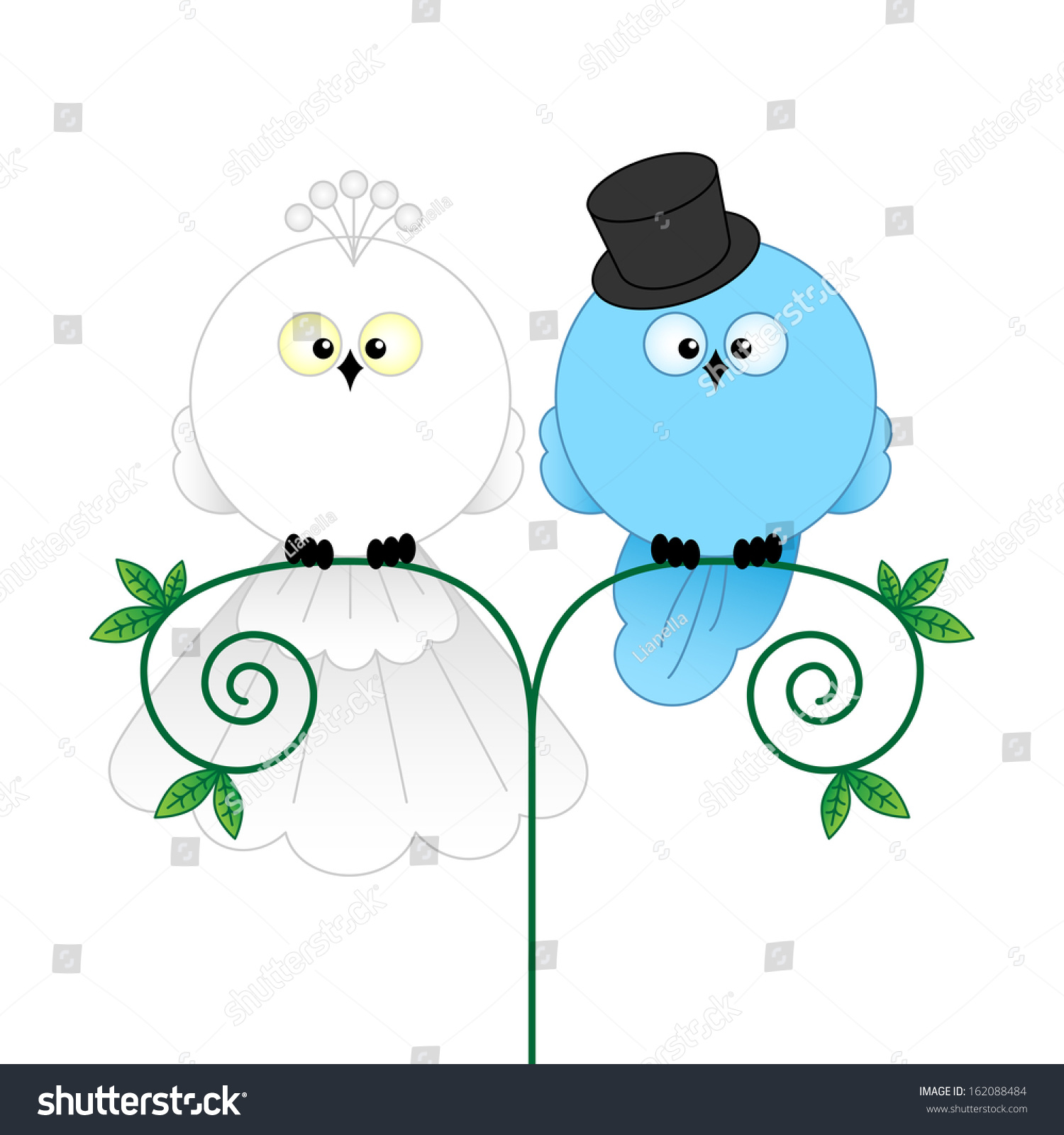 Stylish Bride And Groom Birds Isolated On White Cartoon Characters For Wedding Invitations Cards