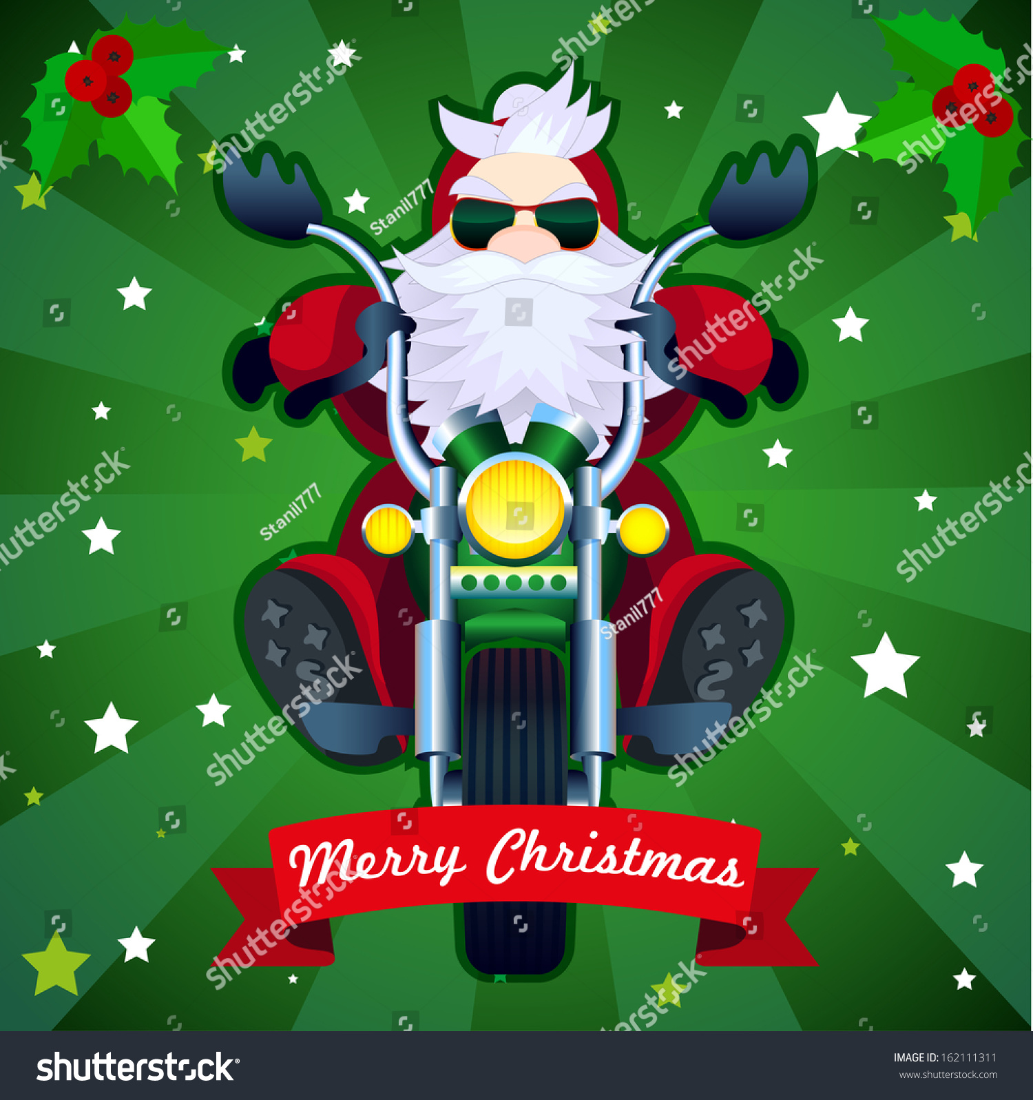 merry christmas card with biker santa in vector - Biker Christmas