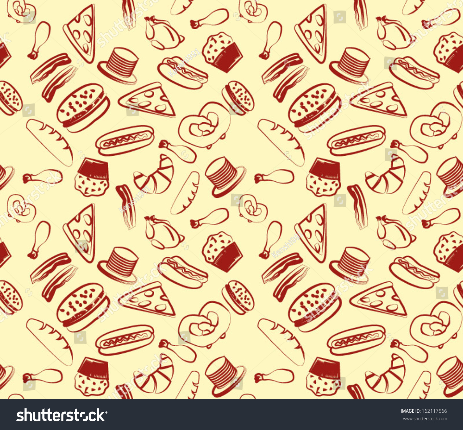 Seamless Food Pattern Stock Vector Royalty Free 162117566
