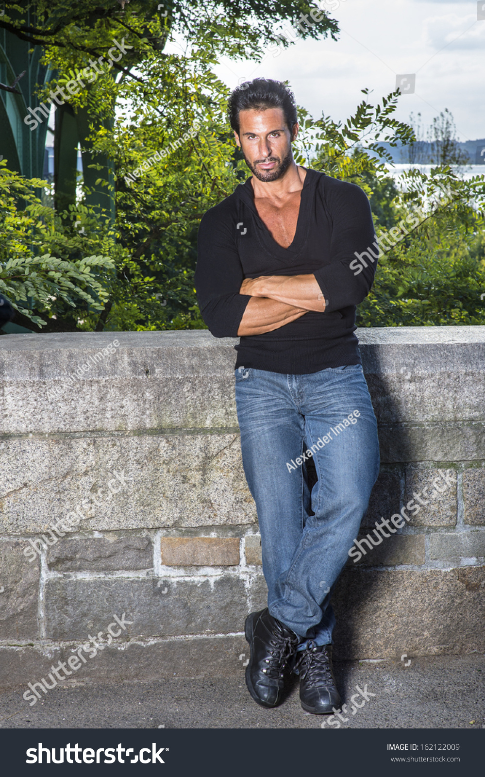 Dressing Black Sweater Blue Jeans Leather Stock Photo 162122009 ...