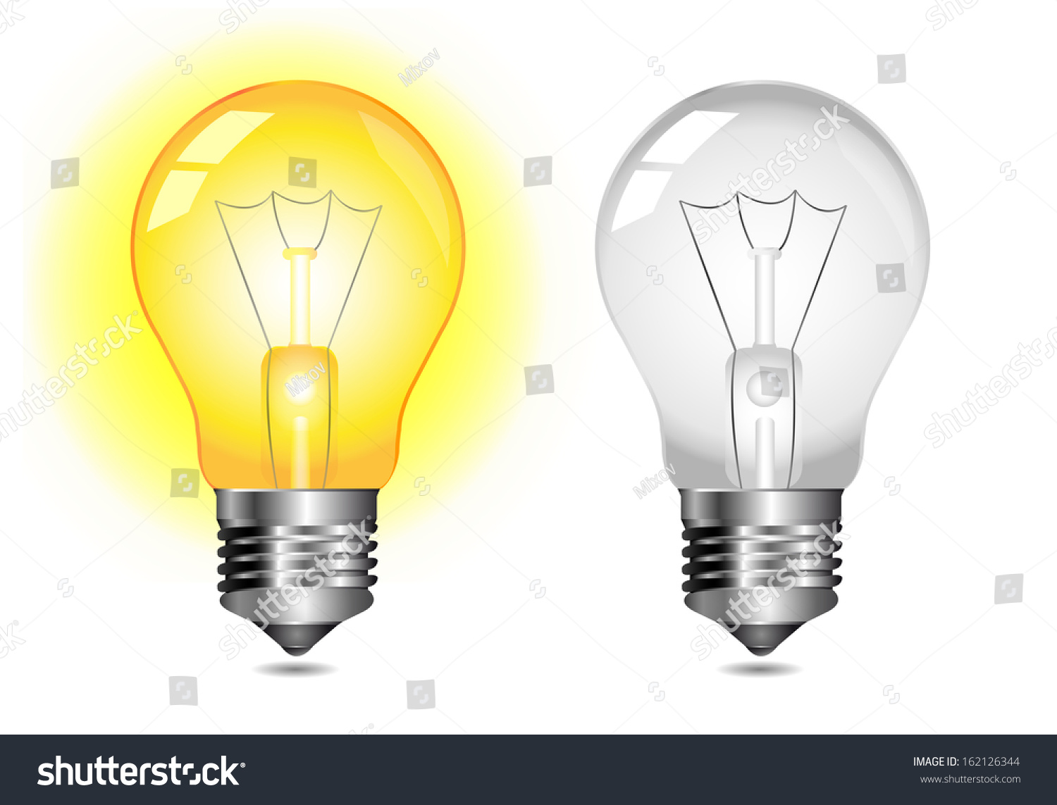 Glowing Light Bulb Icon On Off Stock Vector Royalty Free 162126344