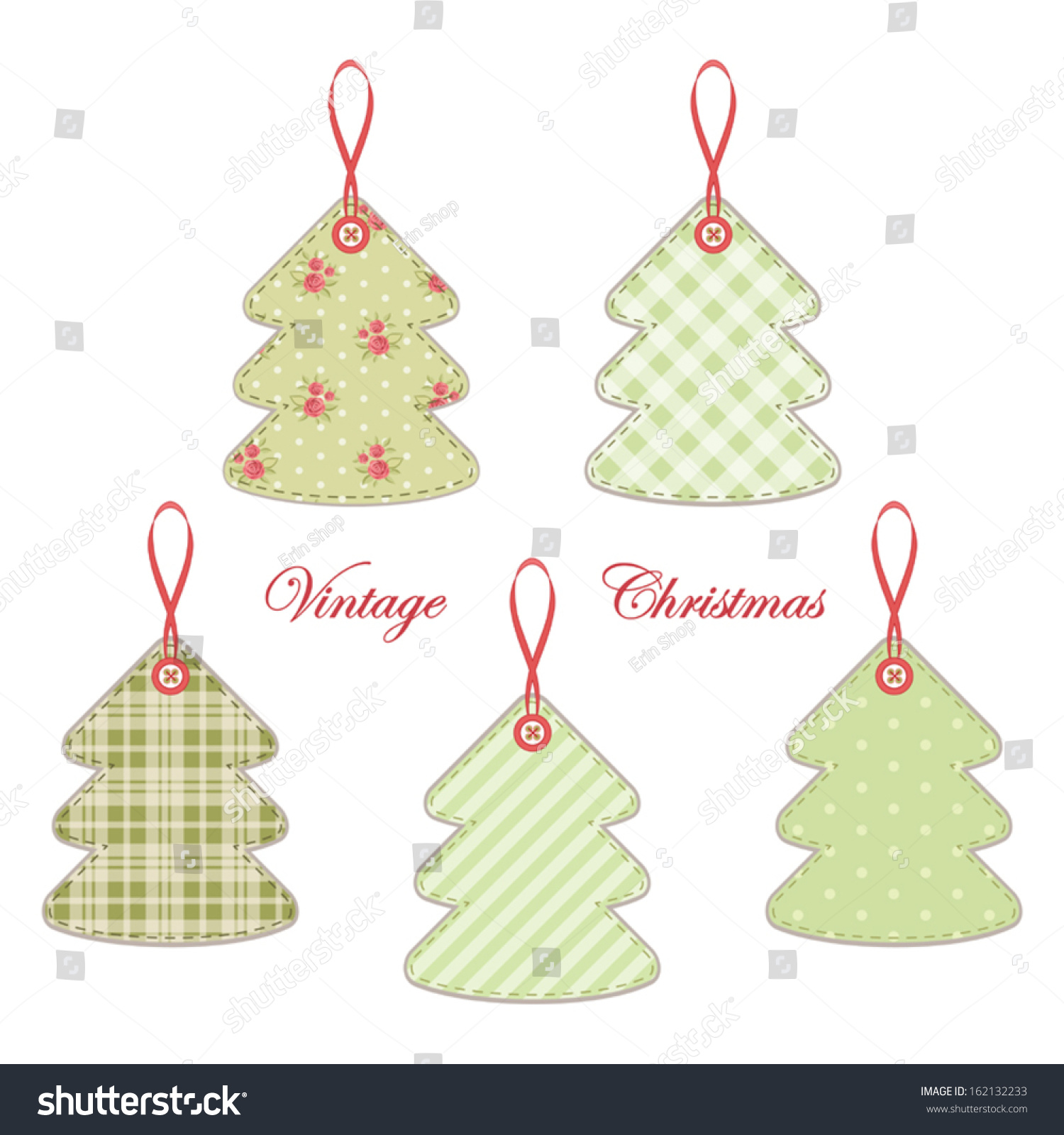 Vintage Christmas Trees Shabby Chic Style Stock Vector Royalty Free 162132233