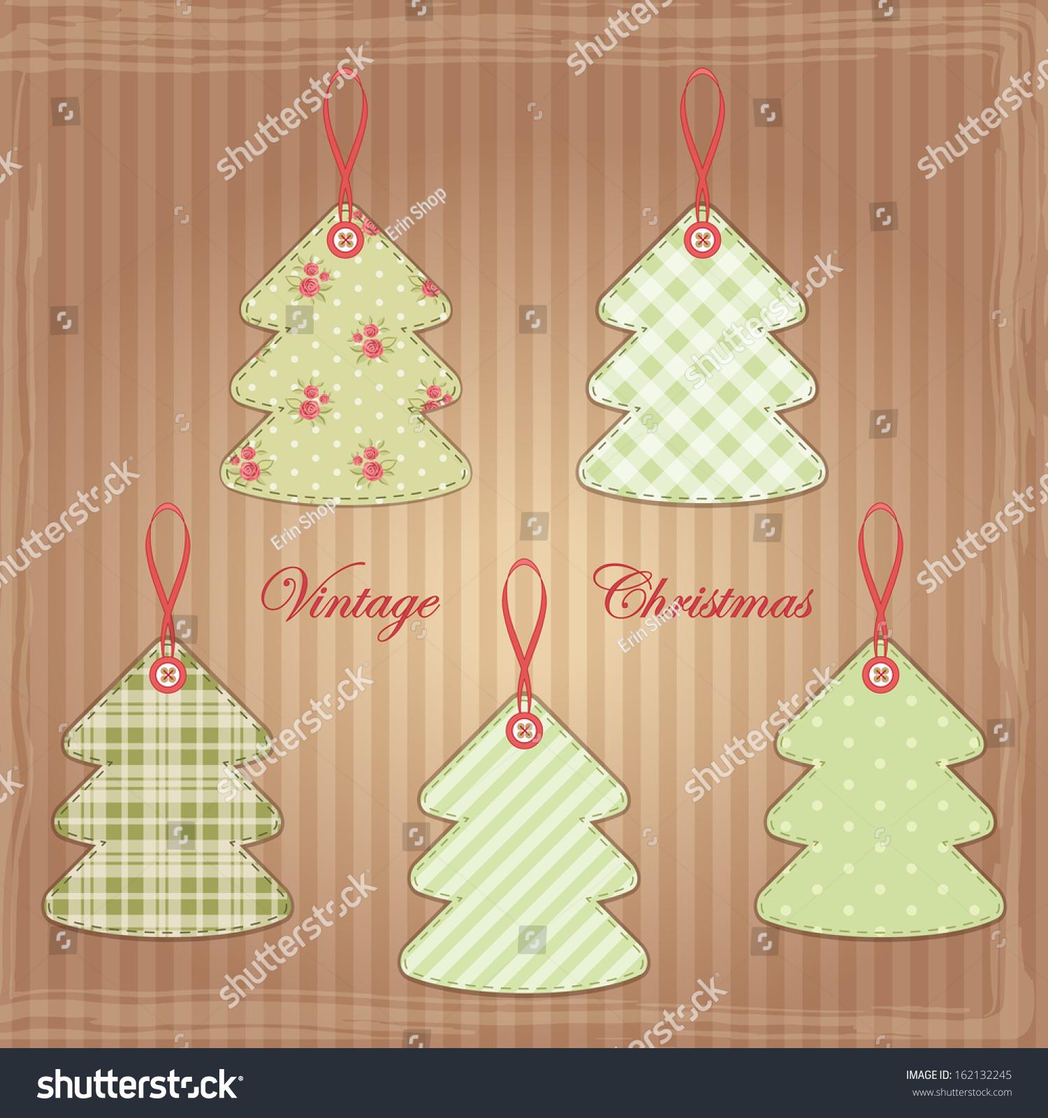 Vintage Christmas Trees Shabby Chic Style Stock Illustration 162132245