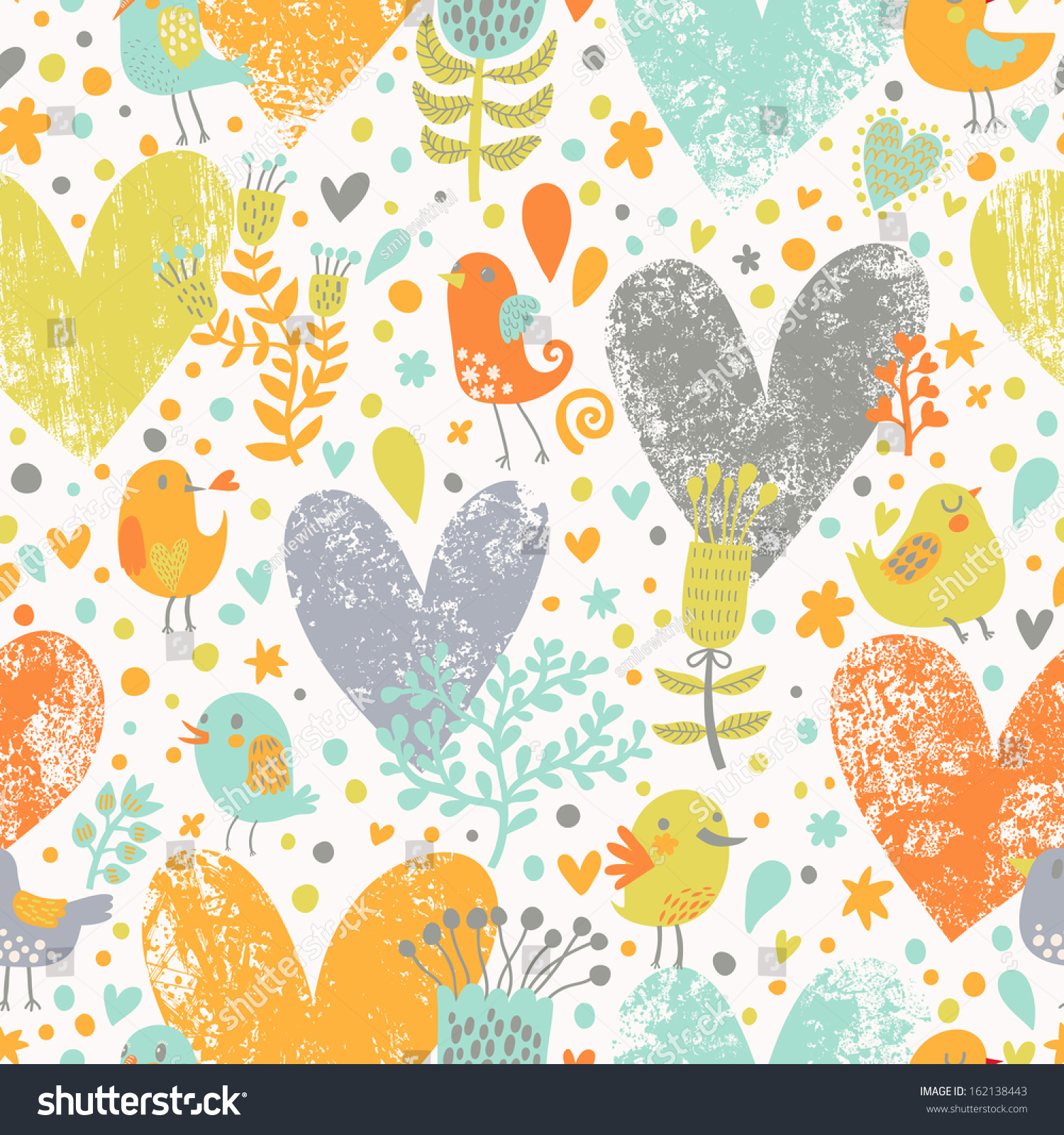 Romantic vector seamless background greeting card wallpaper vector art - Stylish Floral Seamless Pattern With Birds In Vector Cute Cartoon Natural Background In Bright Colors