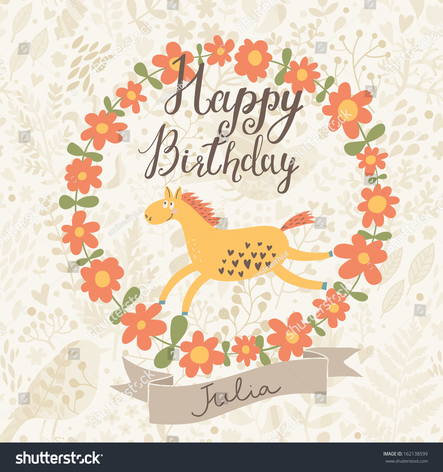 Happy Birthday Card Vector Made Flowers Stock Vector Royalty Free