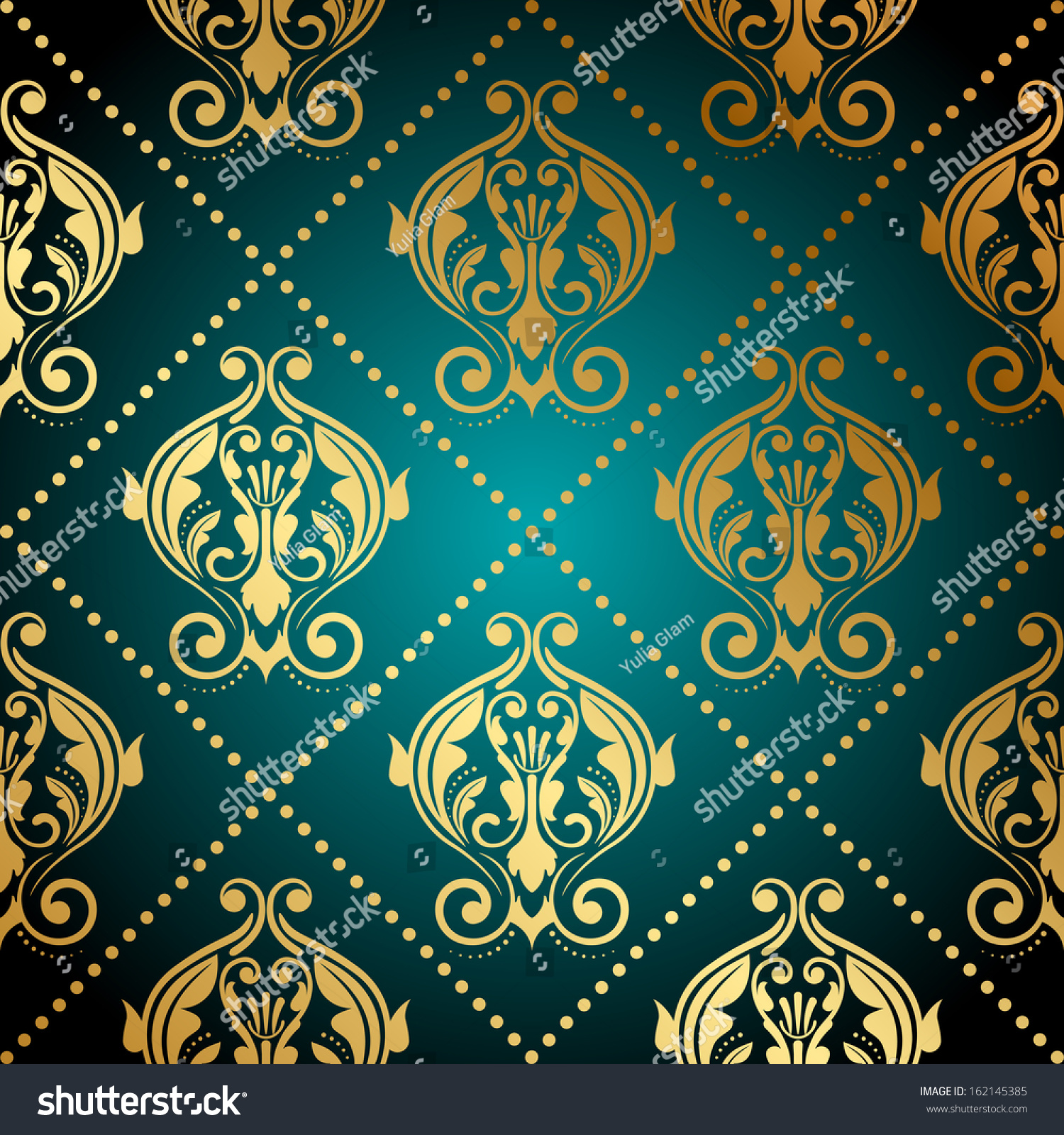 Turquoise Seamless Leaves Wallpaper Royalty Free Cliparts Vectors