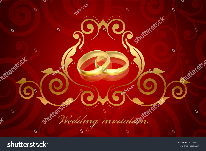 Red And Gold Wedding Invitation - Wedding Invitations