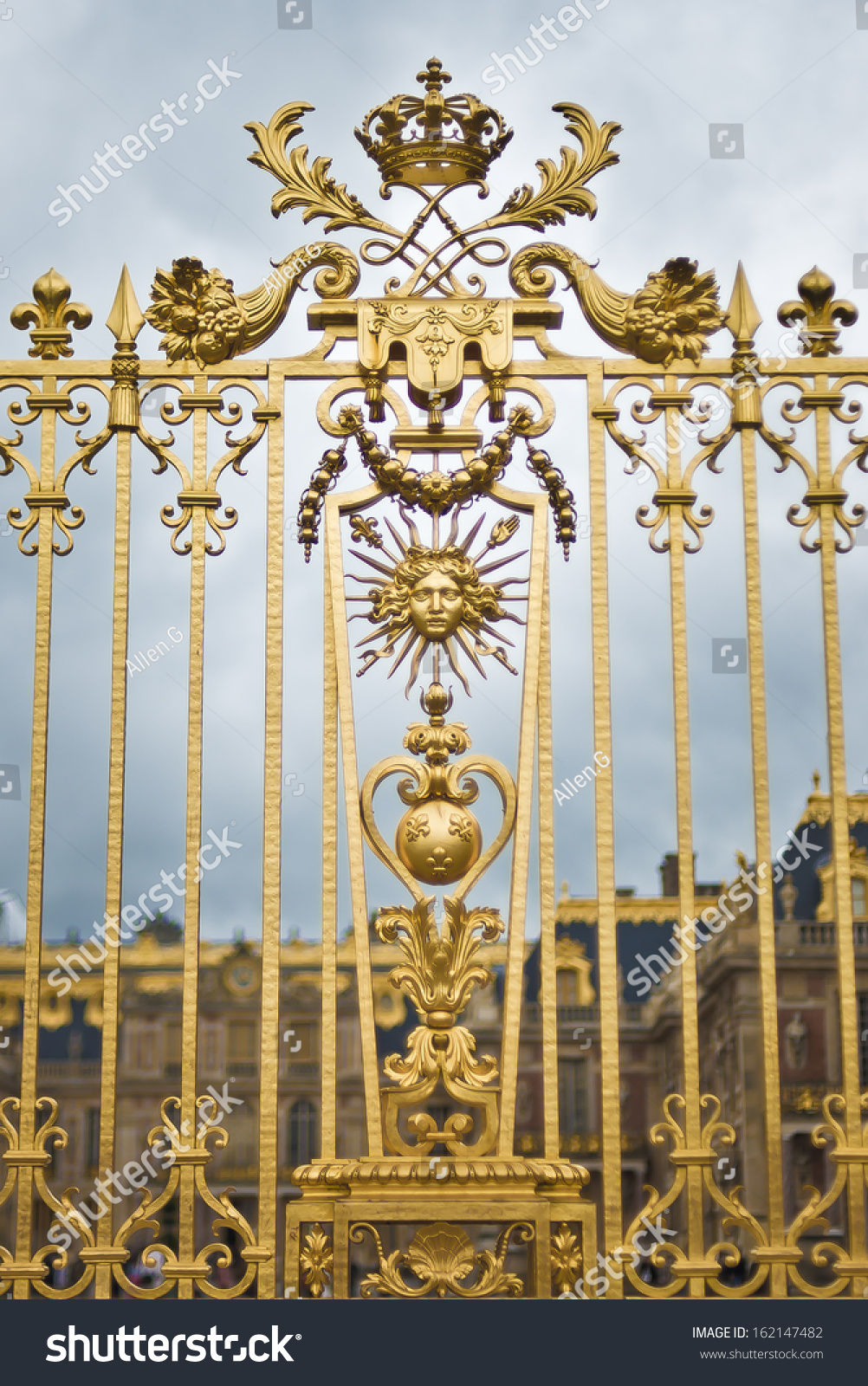 Golden Fence Versailles Palace Showing Sun Stock Photo Edit Now