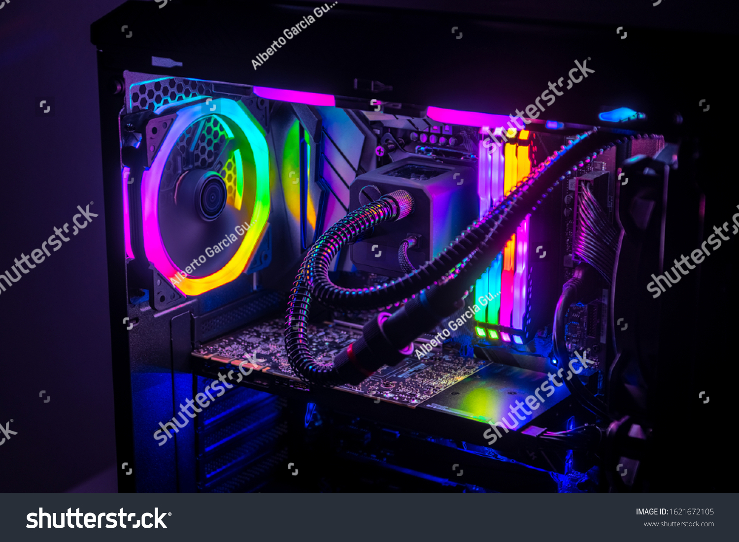 Gaming PC with RGB LED lights on a computer, assembled with hardware components #1621672105