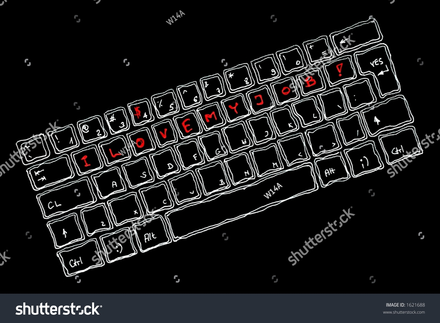 Line Drawing Keyboard : Hand draw keyboard second line reads stock illustration