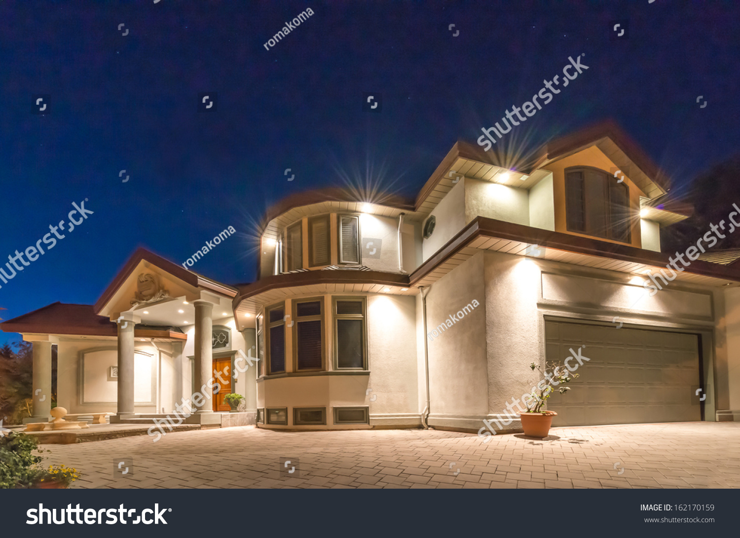 Big Luxury House At Night Disk Sunset Sunrise Time In Suburbs Of
