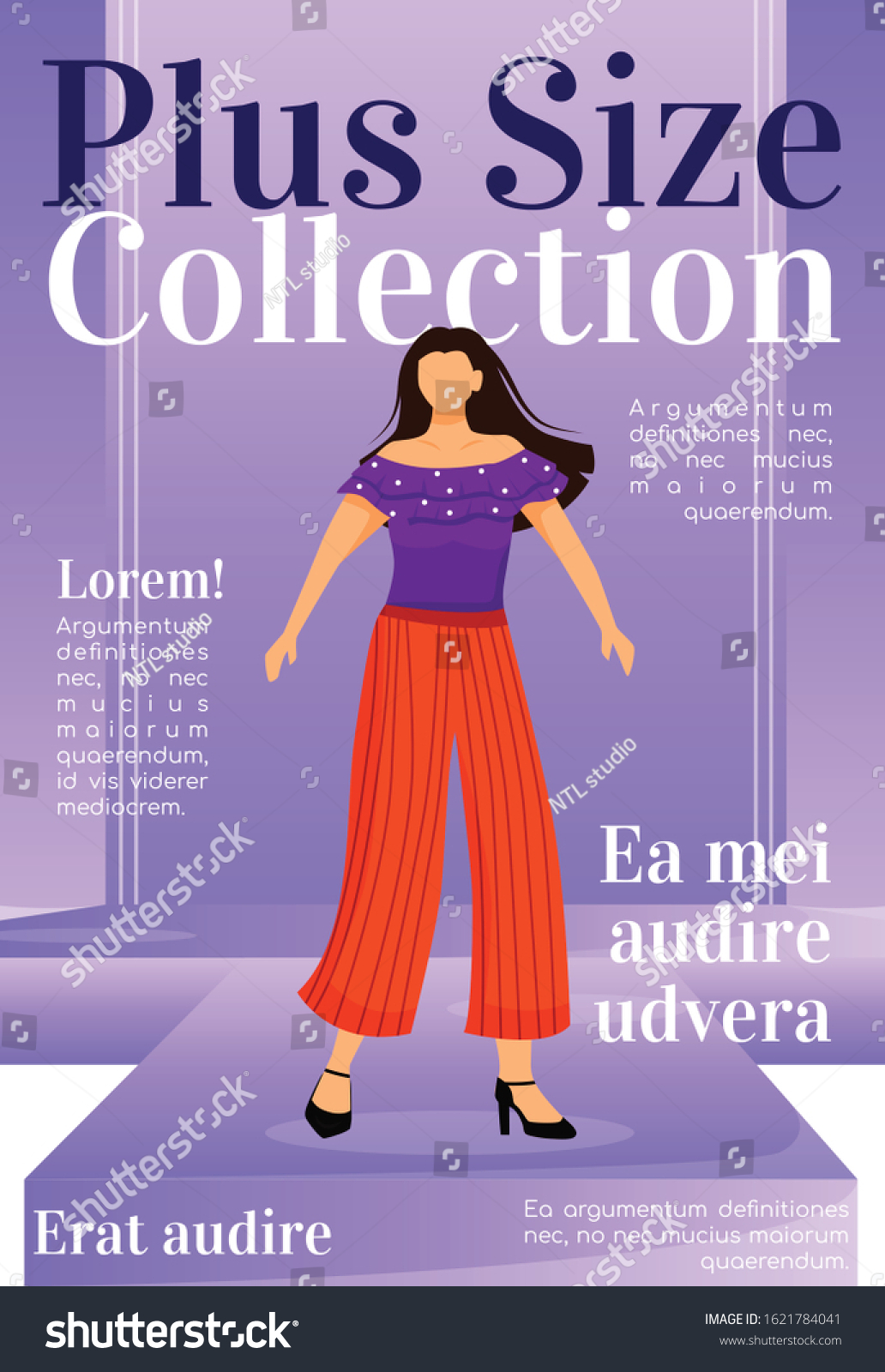 Plus Size Collection Magazine Cover Template Stock Vector Royalty Free 1621784041