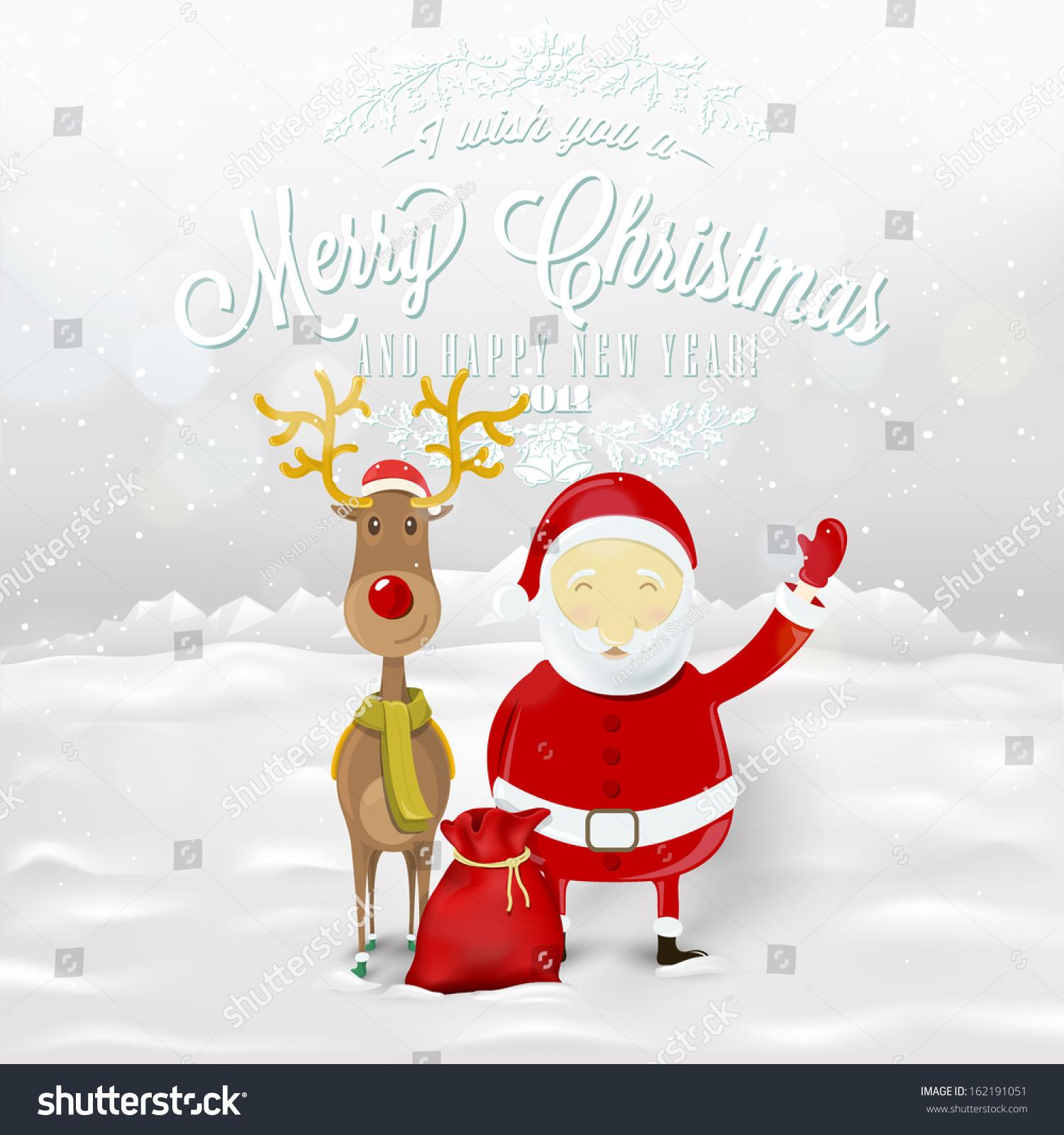 Funny Greeting Christmas Card Santa Claus Stock Vector (Royalty Free ...