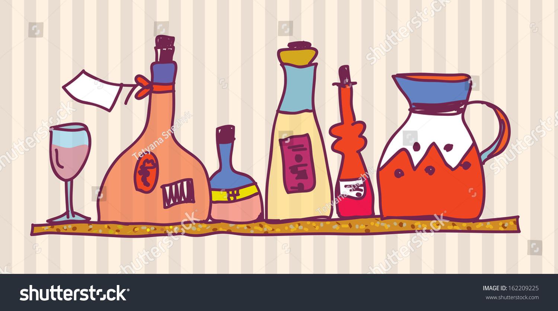 Wine bottle shelf home design cardWine Bottle Shelf Home Design Card Stock Vector 162209225  . Home Design Card. Home Design Ideas