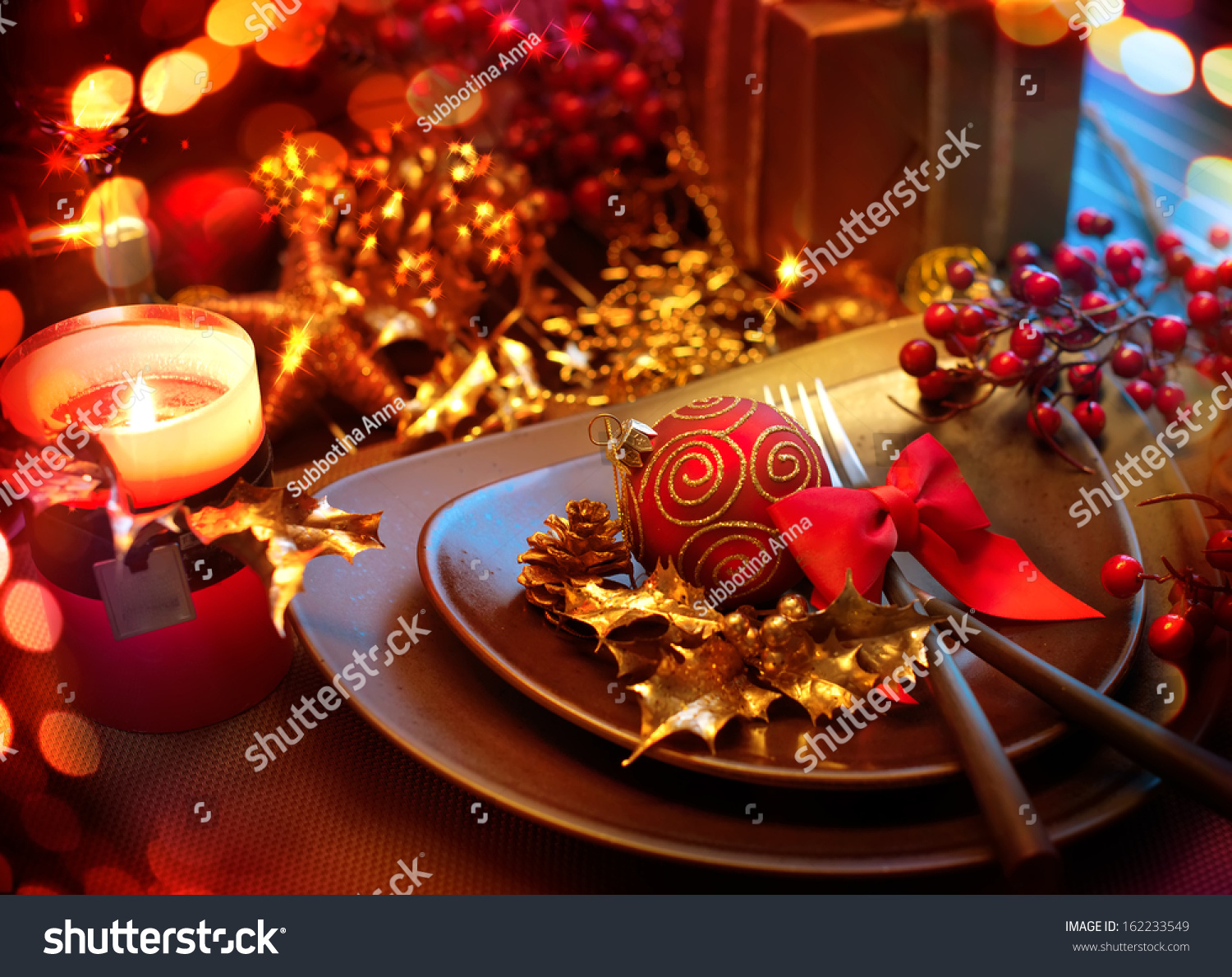 Christmas New Year Holiday Table Setting Stock Photo ...