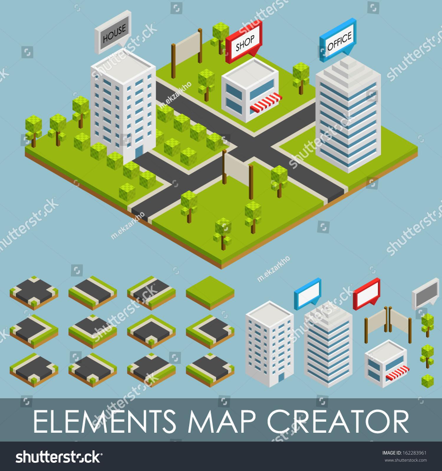 Isometric Elements Map Creator City Stock Vector