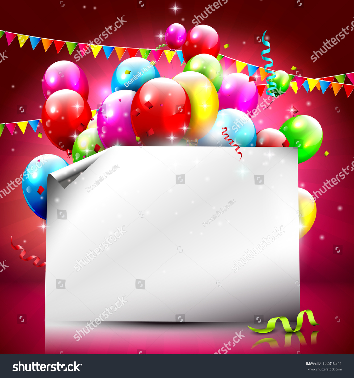 Birthday Background With Colorful Balloons And Empty Paper