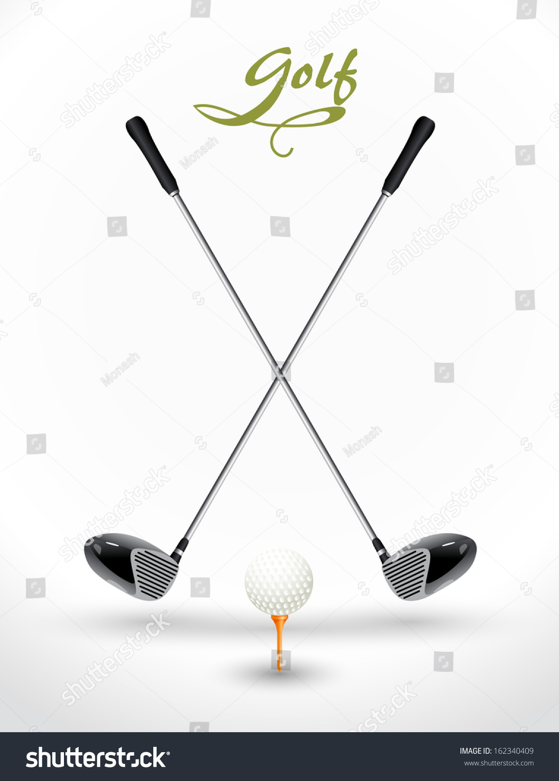 Crossed Golf Clubs With Golf Ball