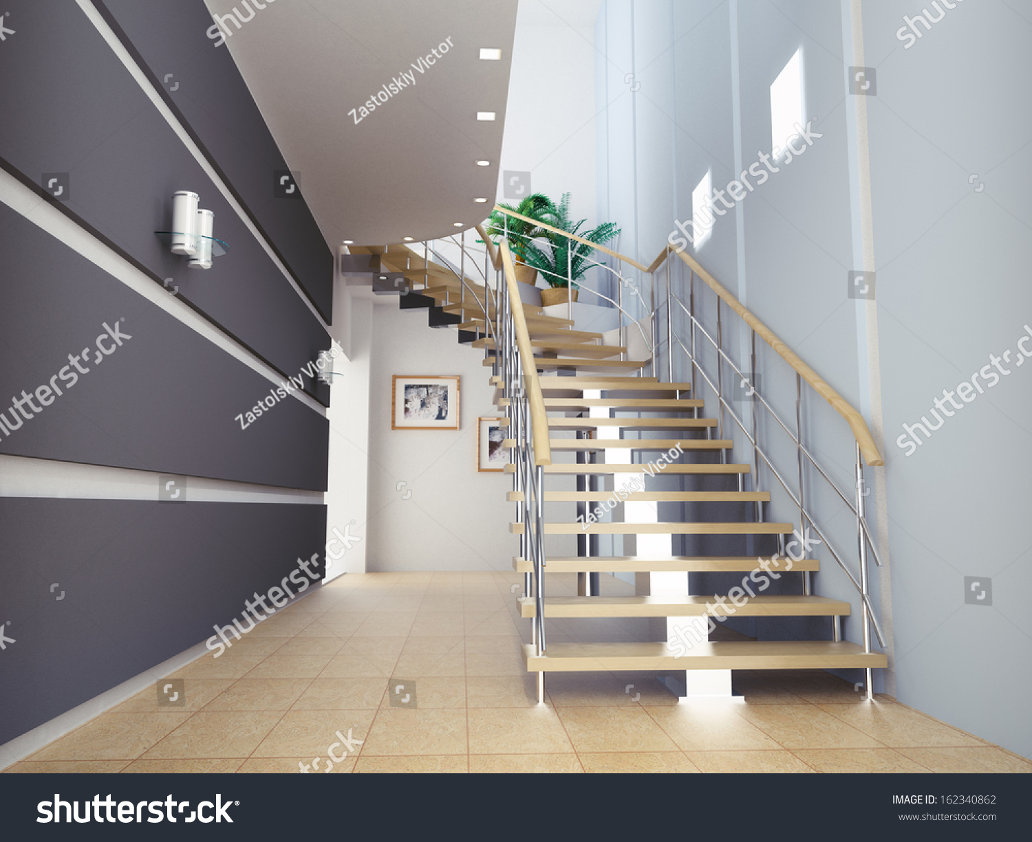 Interior of stylish modern house hall staircase view