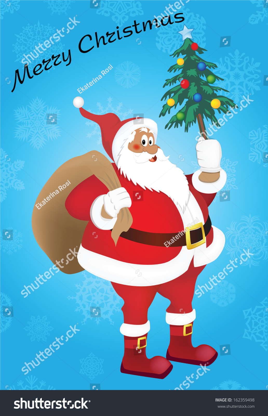 how to draw santa claus with gifts and christmas tree