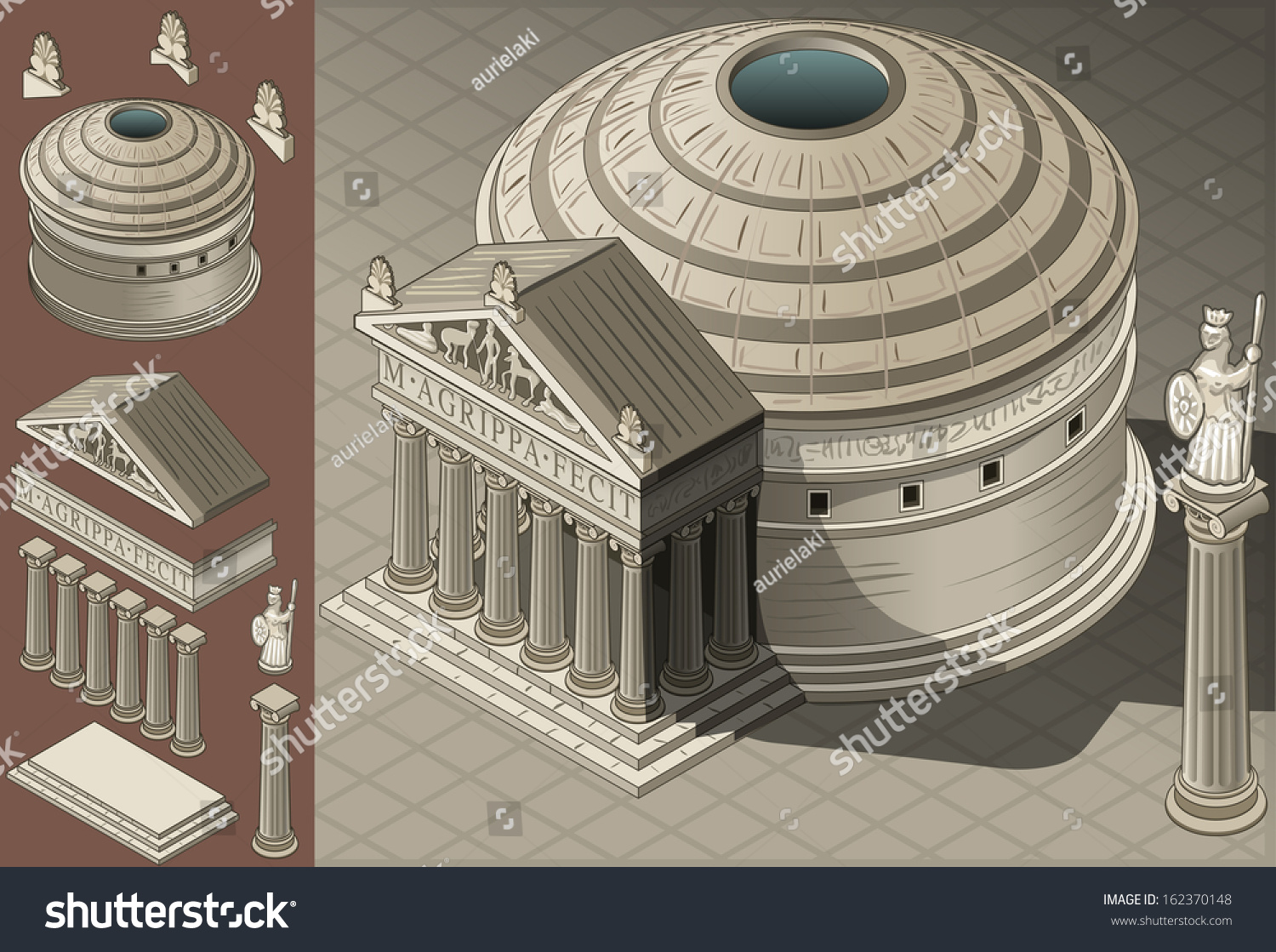 Isometric pantheon building ancient rome tiles stock for Building drawing online