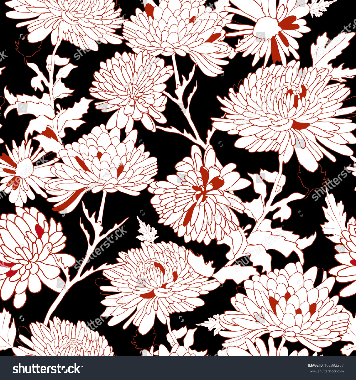 Pink floral seamless vector background floral hrysanthemum seamless - Floral Seamless Pattern Background With Chrysanthemum Vector Illustration