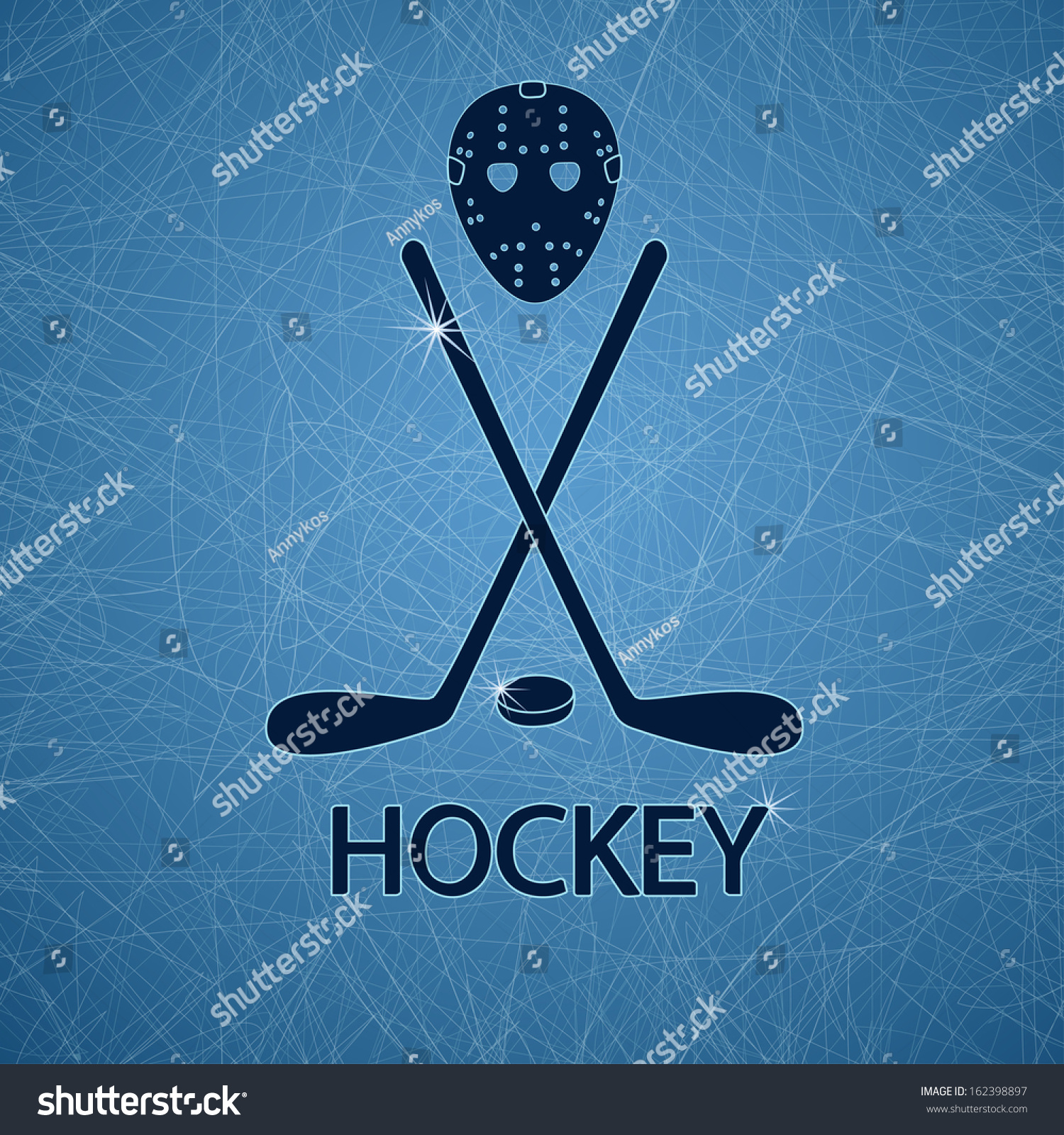 Illustration With Hockey Mask, Sticks And Puck On A Ice