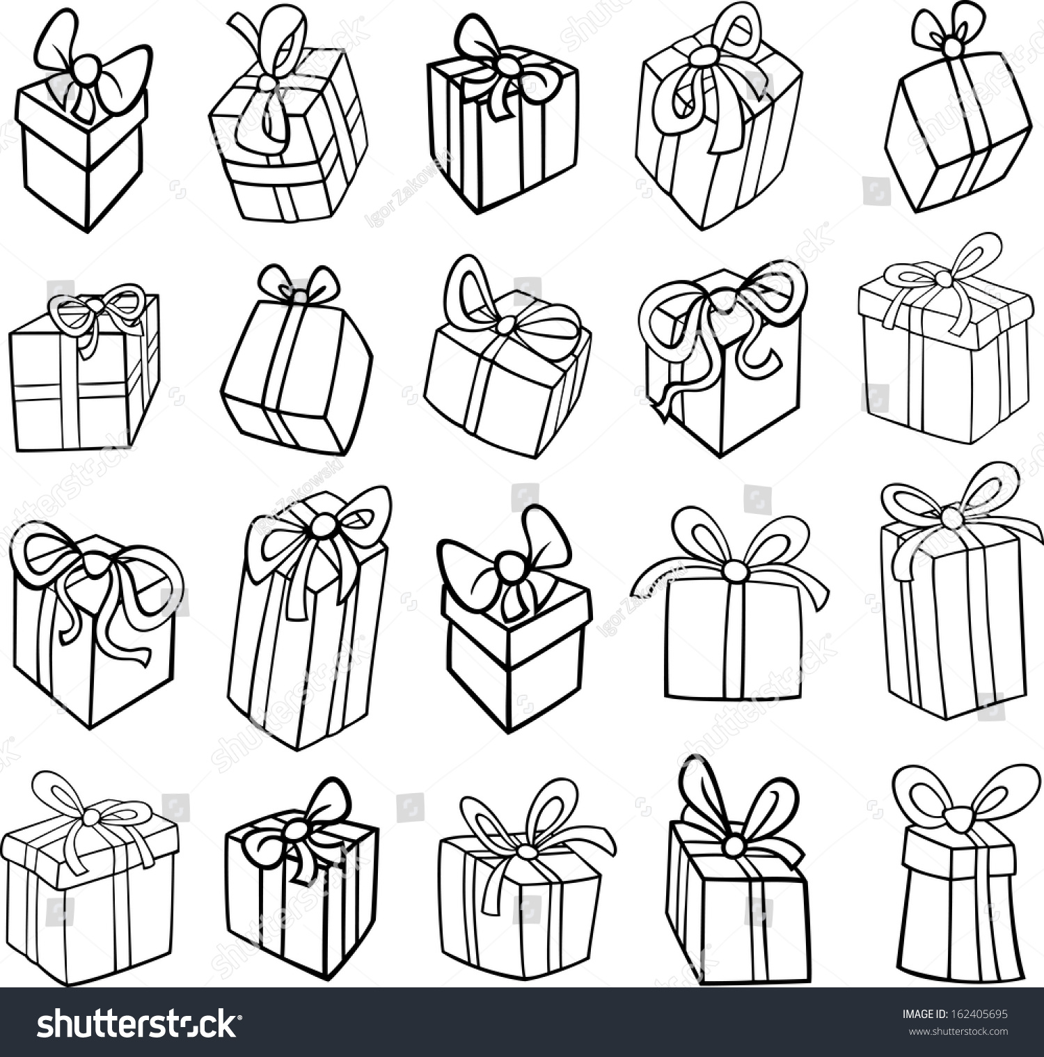 Black White Cartoon Vector Illustration Christmas Stock Vector 162405695 - Shutterstock