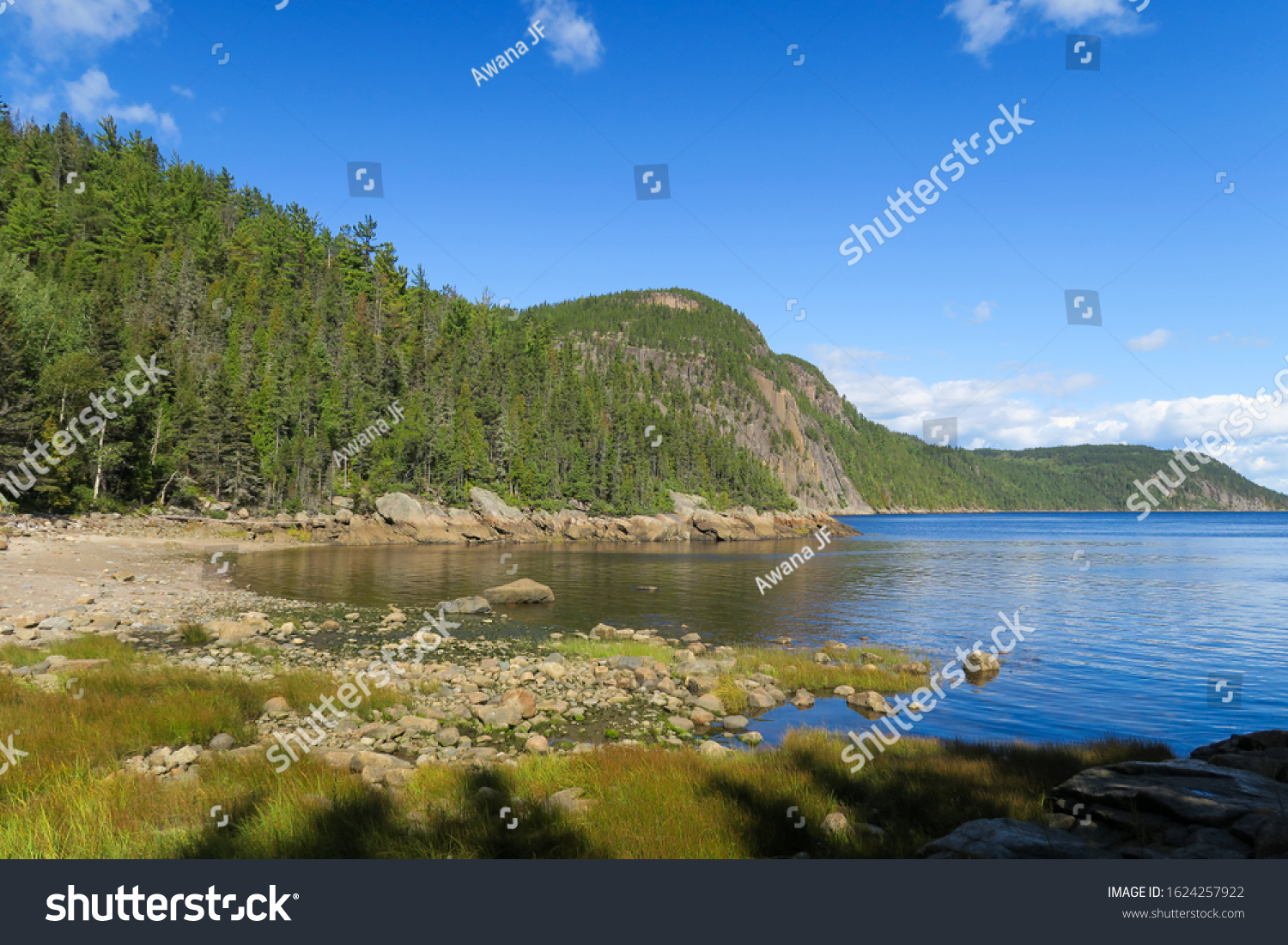 Landscape of the shore facing the Saguenay river