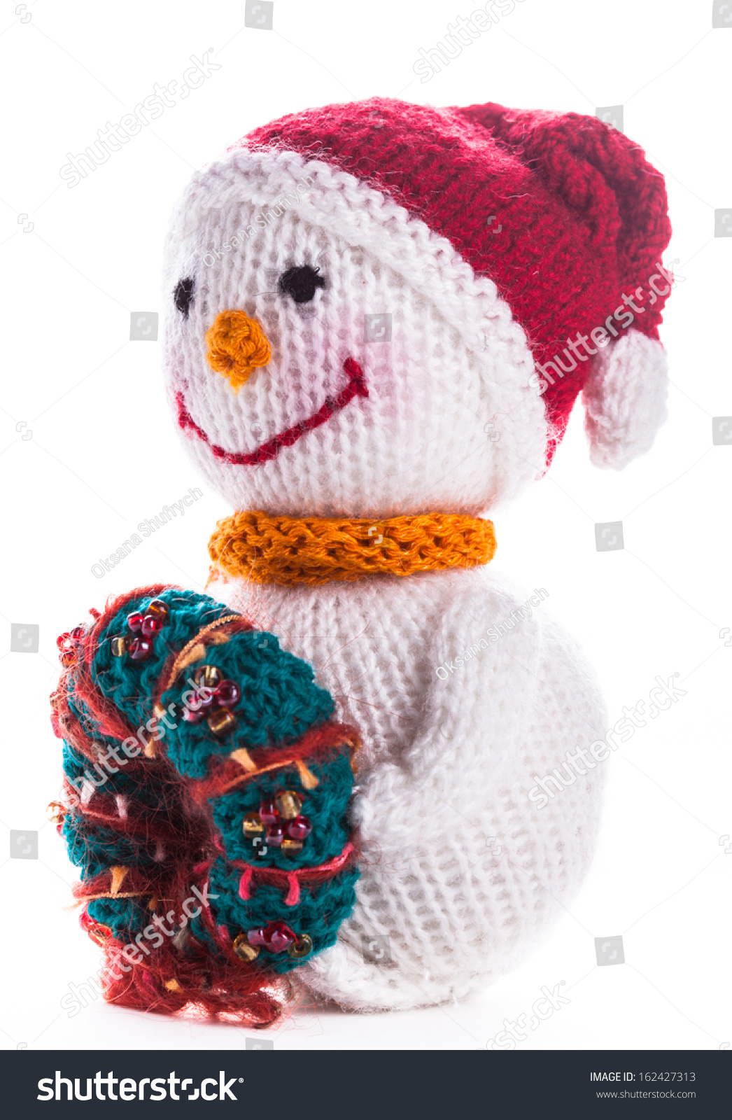 Knitted Snowman Christmas Wreath Isolated On Stock Photo Edit Now