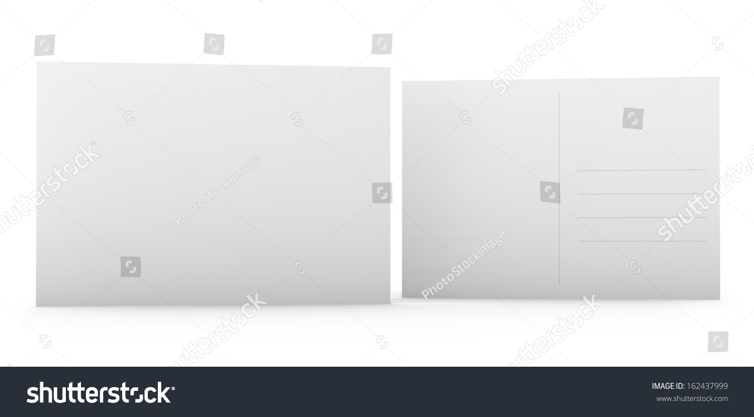 Postcard Template Blank White Front Back Stock Illustration