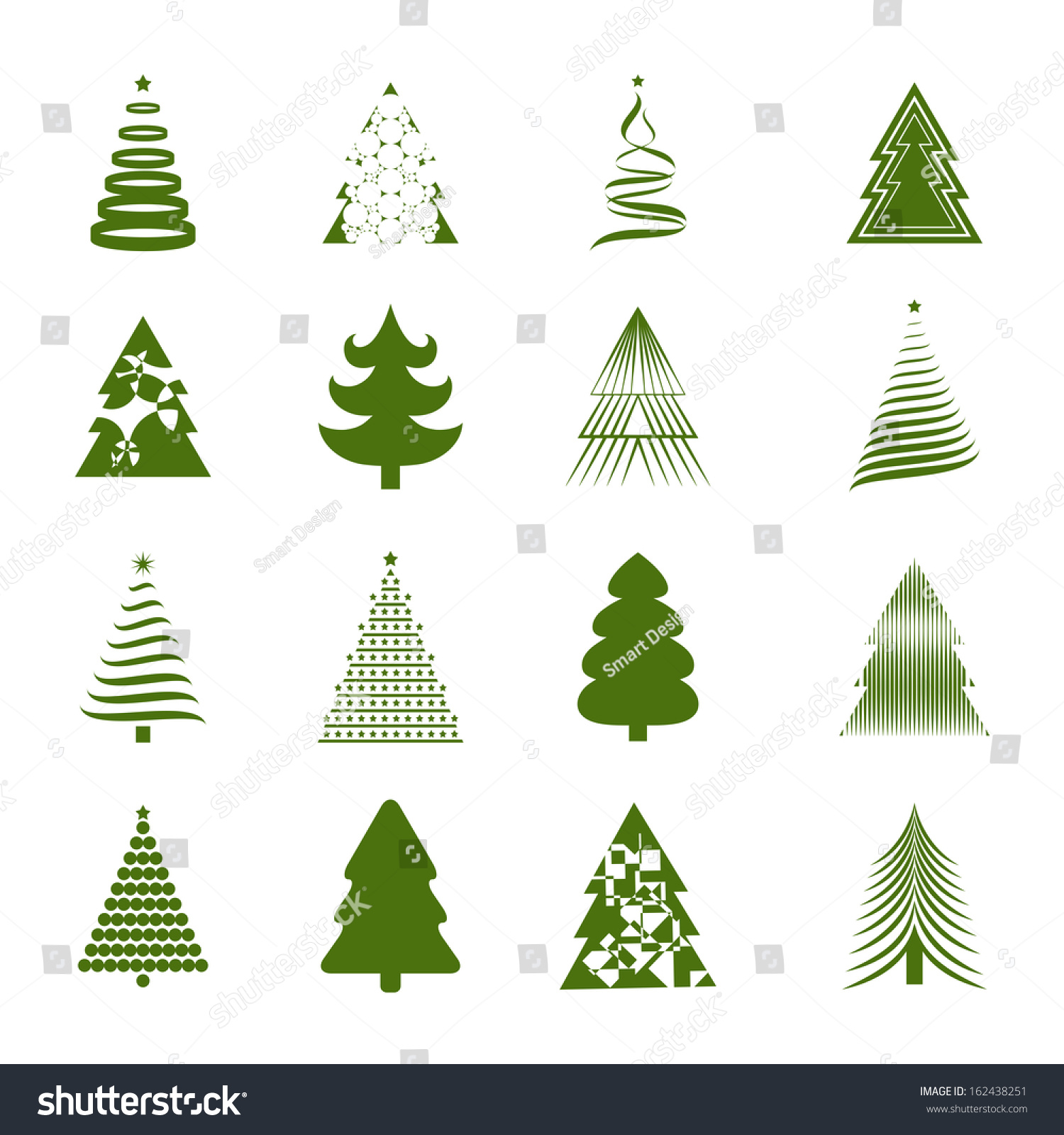 Christmas Tree Icons Set Isolated On Stock Vector Royalty Free