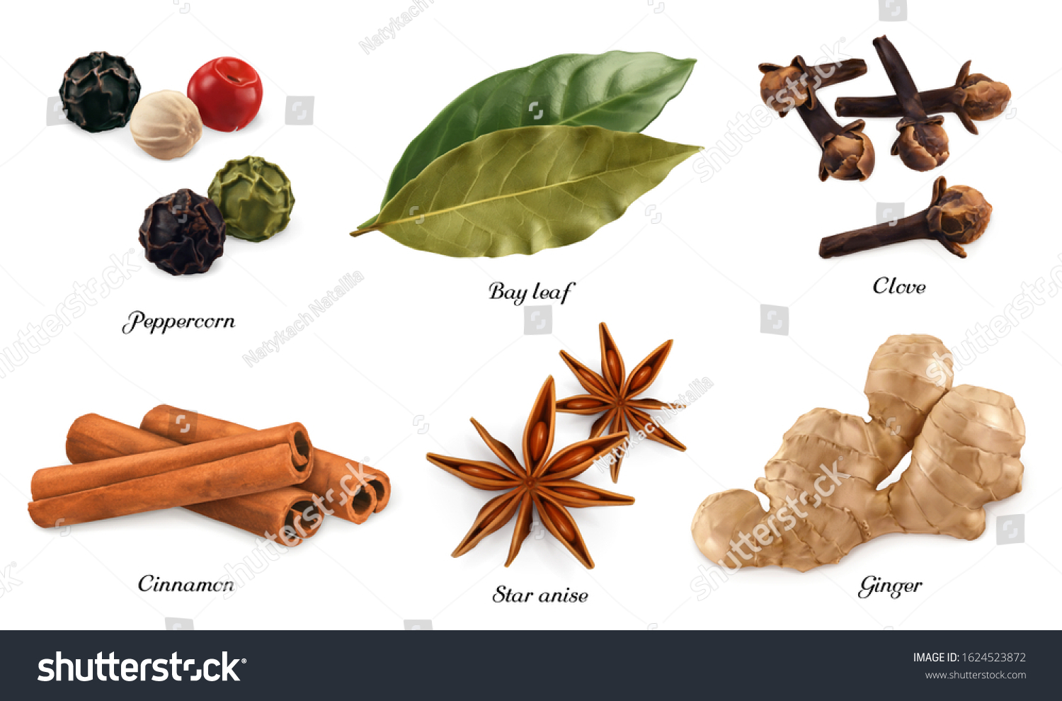 Spices and herbs. Peppercorn, bay leaf, dried cloves, cassia cinnamon, star anise, ginger root. 3d vector realistic objects. Food icon set #1624523872