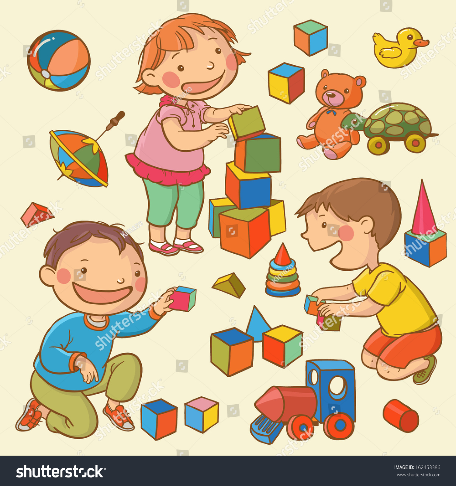 Illustration Kids Playing Toys Children Illustration Stock Vector