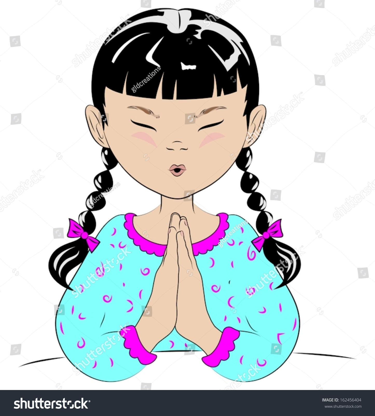 a vector drawing of a young girl with pigtails in her pajamas saying her prayers before she goes to bed 162456404 shutterstock
