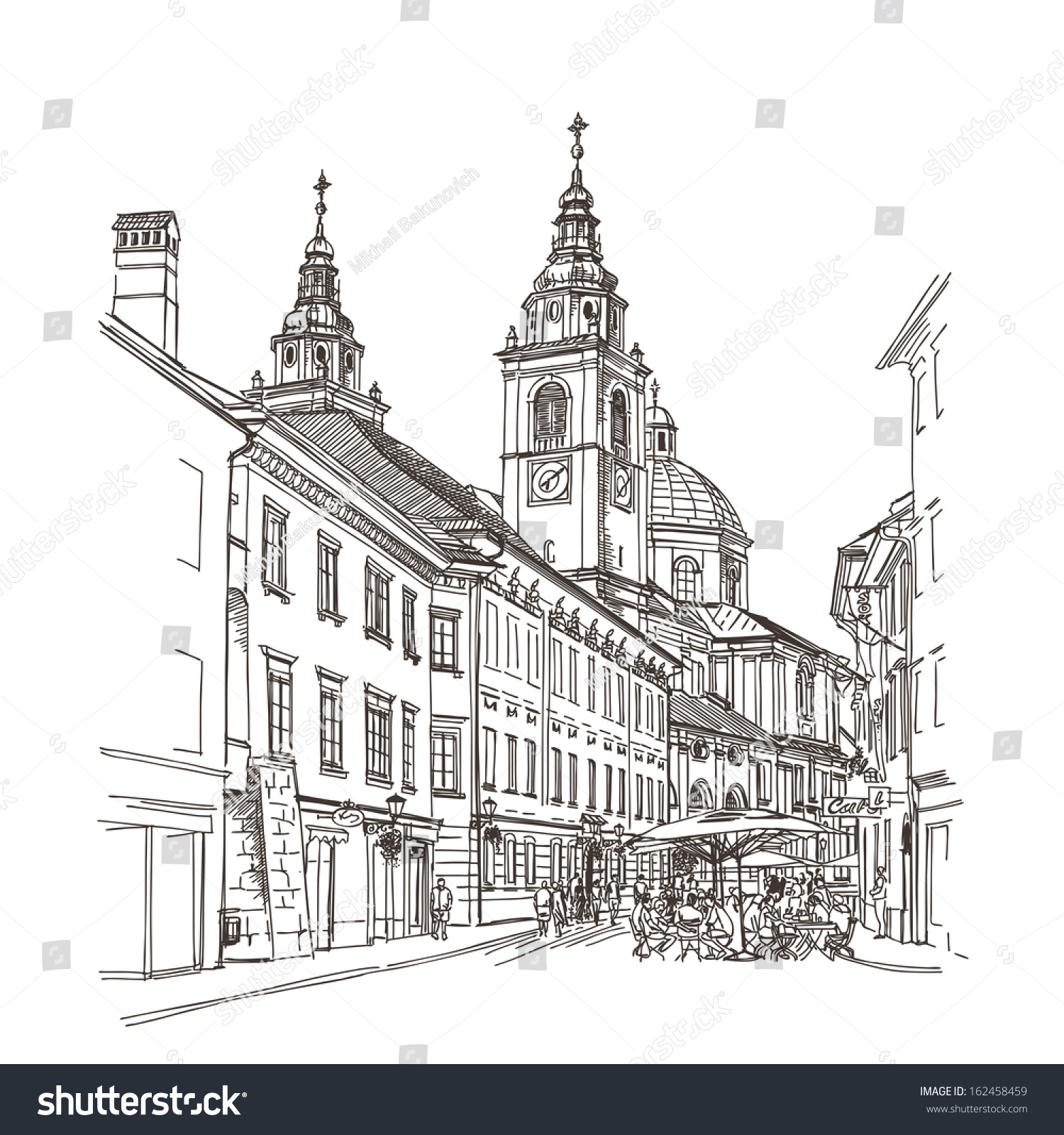 Vector Drawing Of Central Street Old European Town Ljubljana Slovenia
