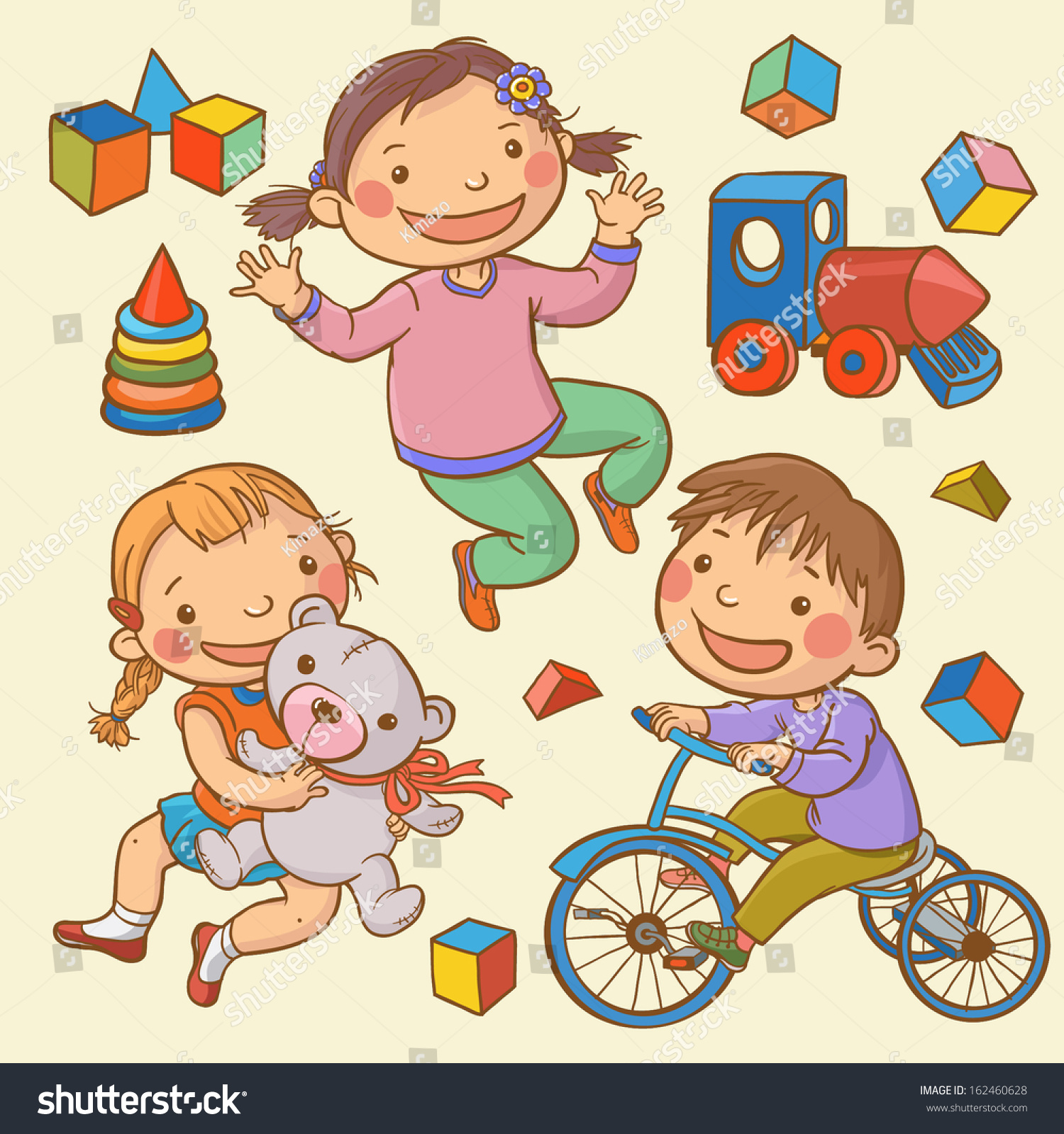 Happy Kids Toys Set Children Illustration Stock Vector