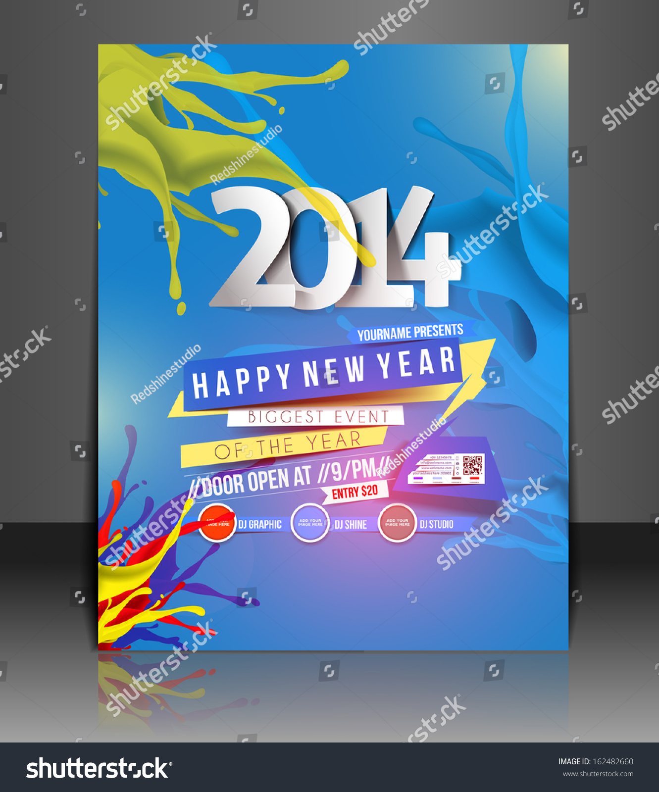 New Year Party Flyer Poster Template Vector 162482660 – New Year Poster Template