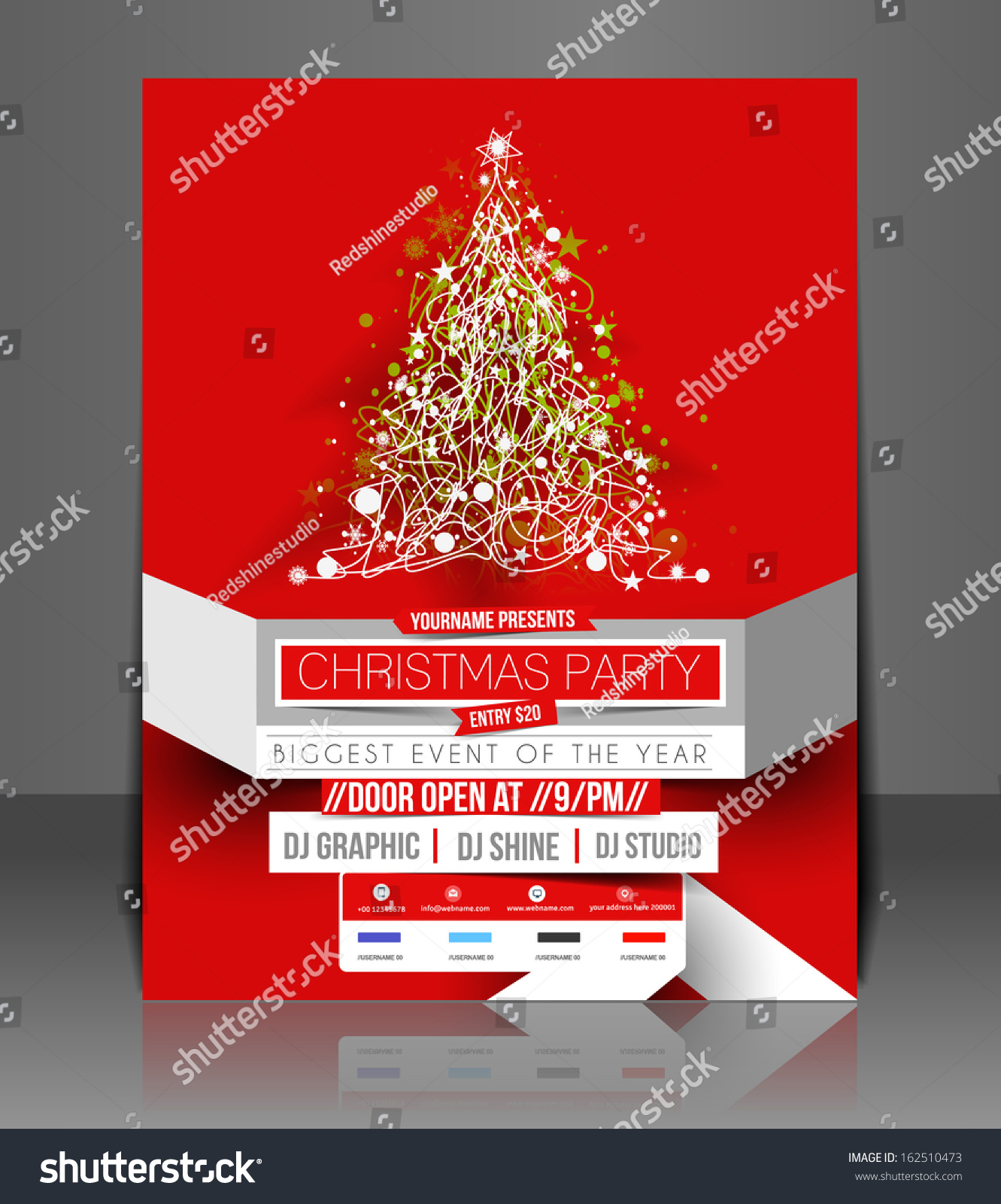 christmas party flyer poster template stock vector  christmas party flyer poster template