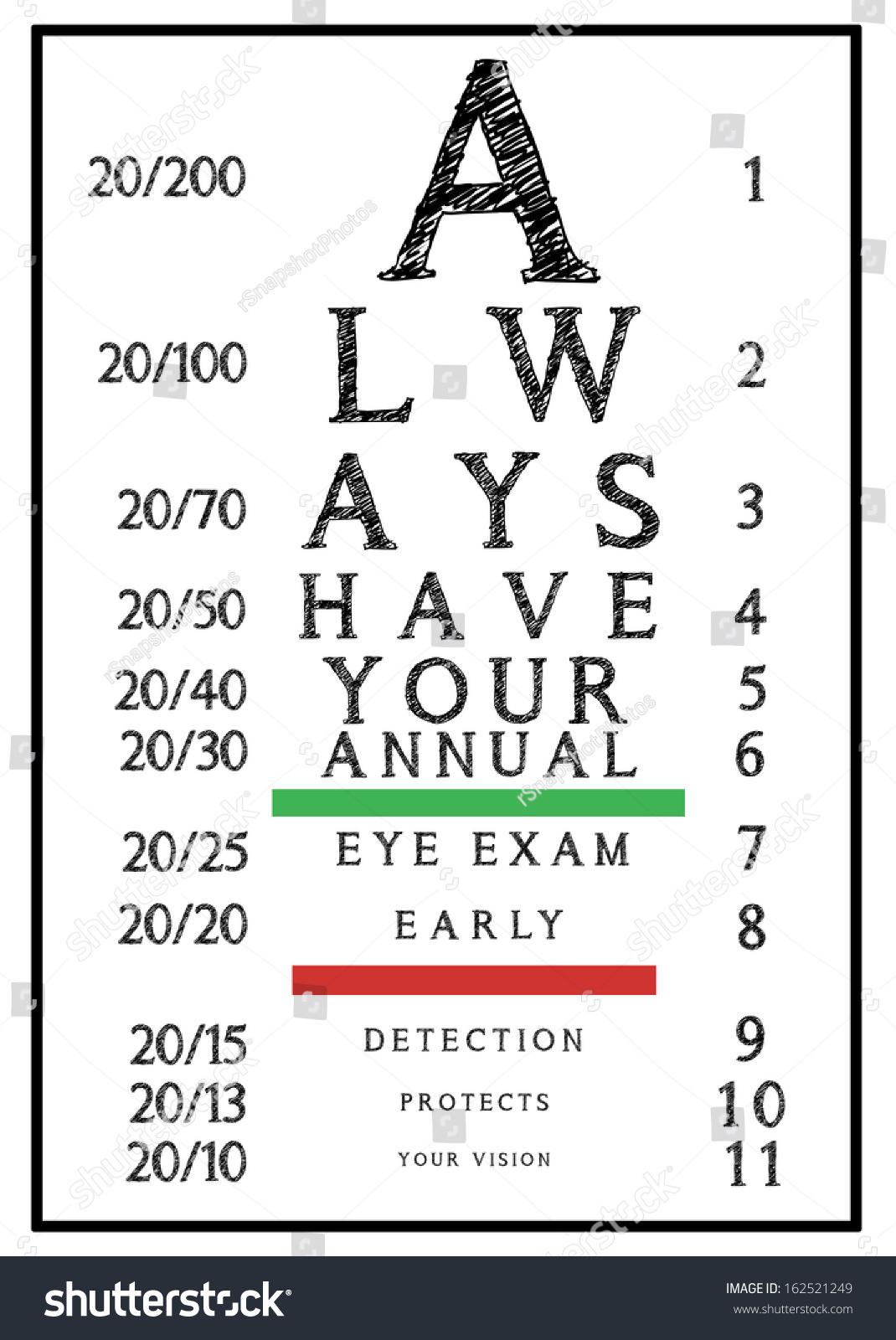 Eye exam chart always have your stock illustration 162521249 eye exam chart always have your annual eye exam isolated on white background nvjuhfo Choice Image