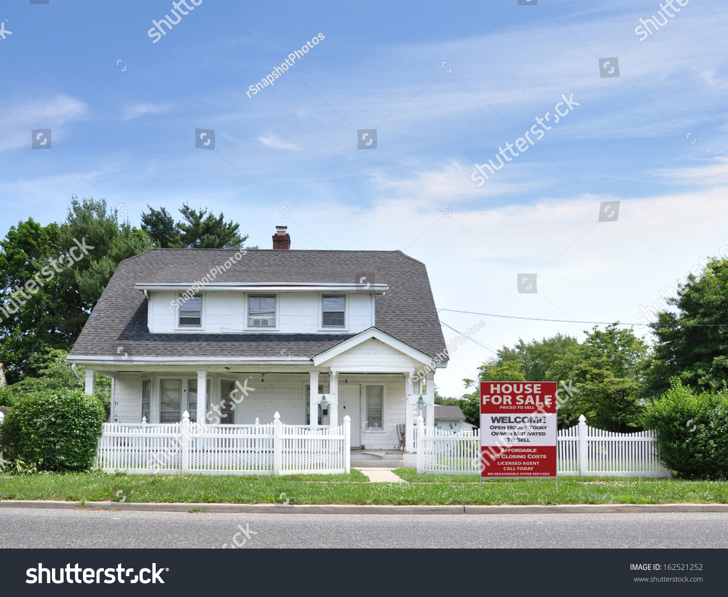 House For Sale White Picket Fence Suburban Home