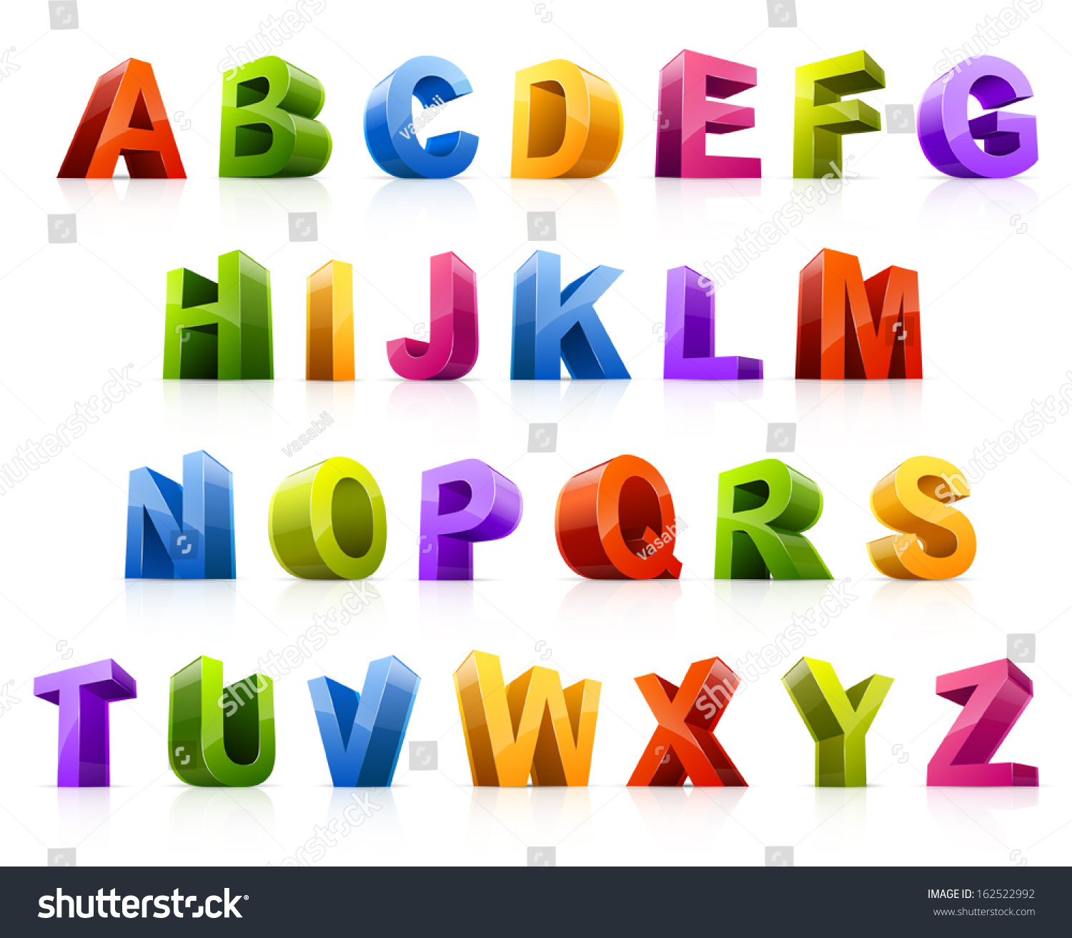 vector illustration of colorful three dimensional letters