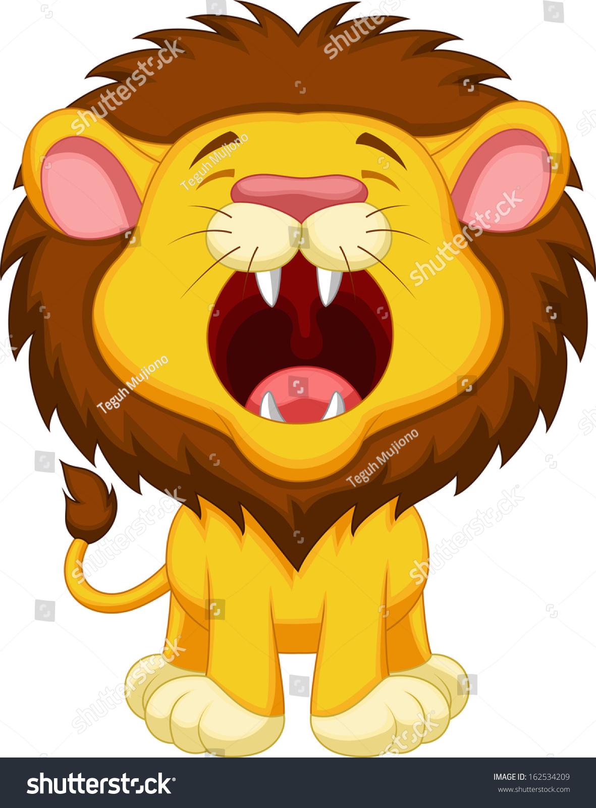 Stock Vector Lion Cartoon Roaring on Open Mouth Clip Art