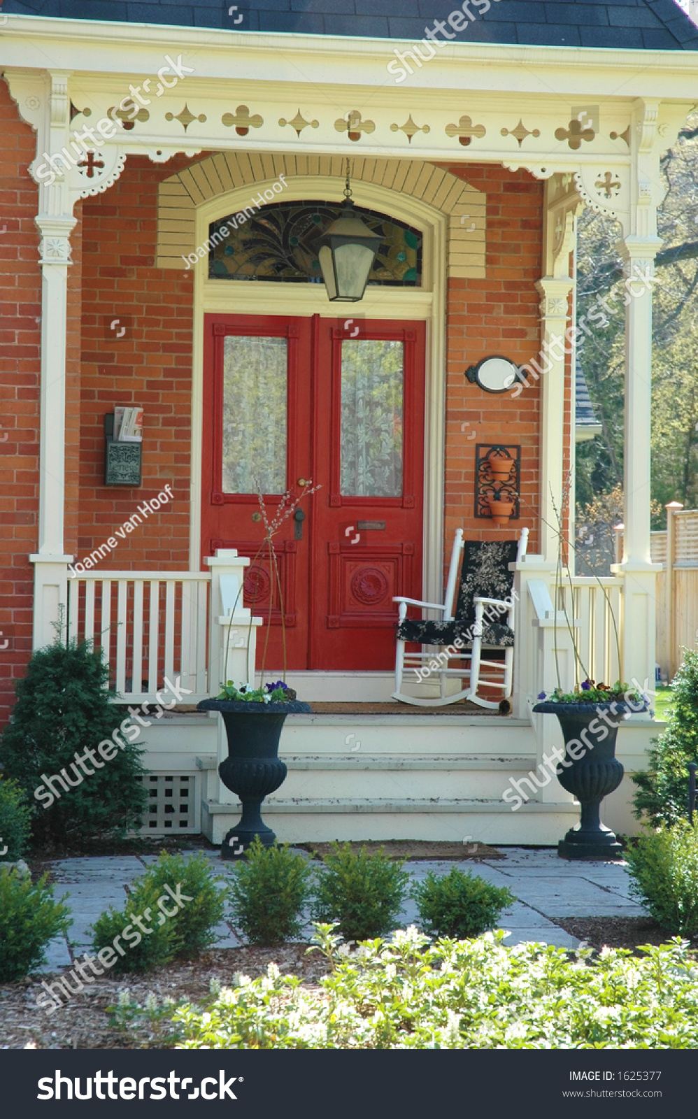 Front Door Entrance Victorian Home Red Stock Photo 1625377