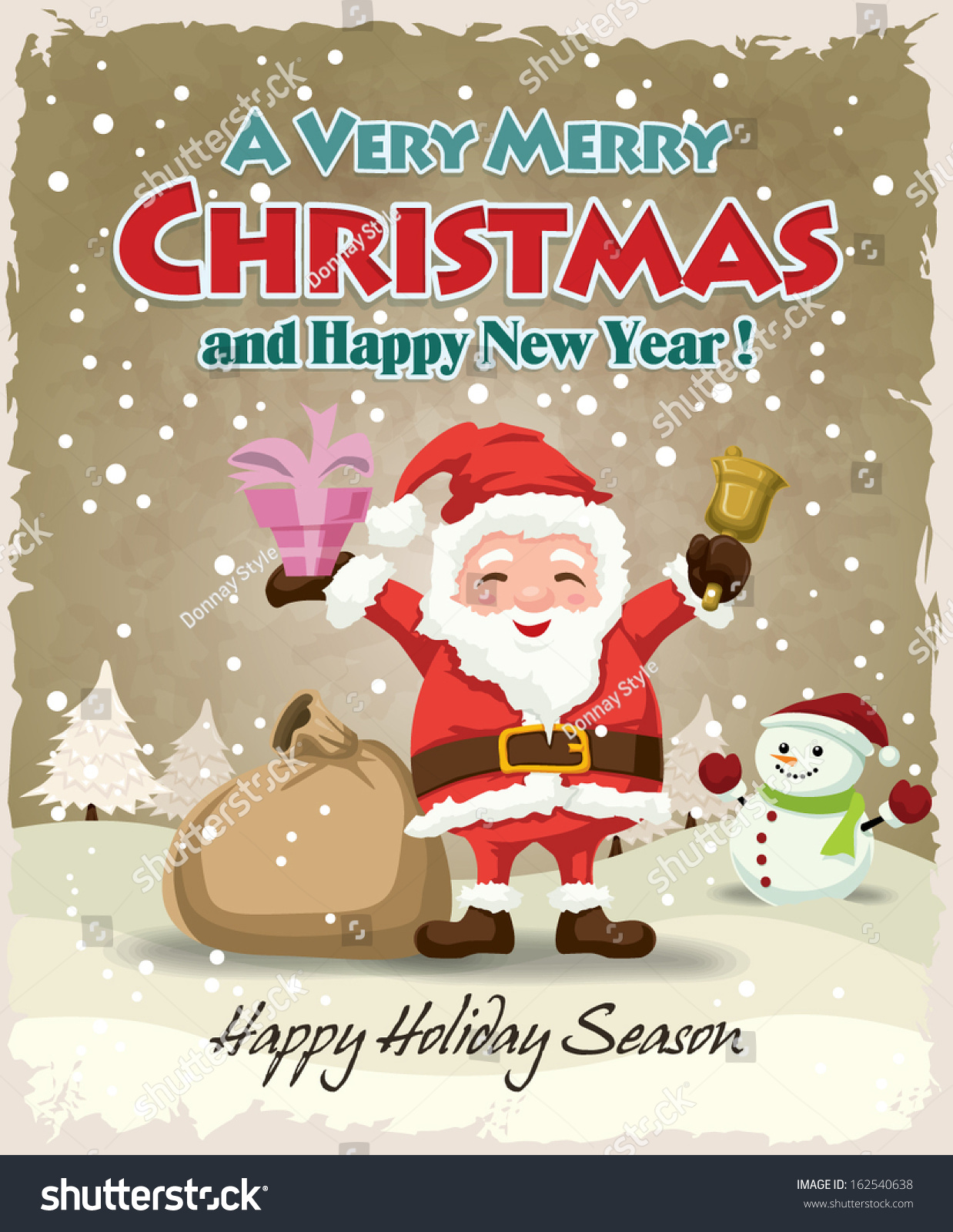 Xmas poster design - Vintage Christmas Poster Design With Santa Claus And Snowman