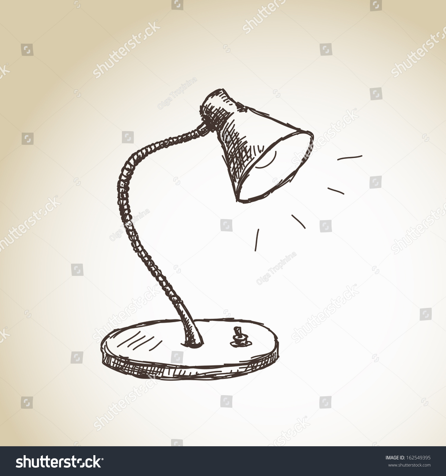 Table lamp for drawing - Hand Drawn Table Lamp Vector
