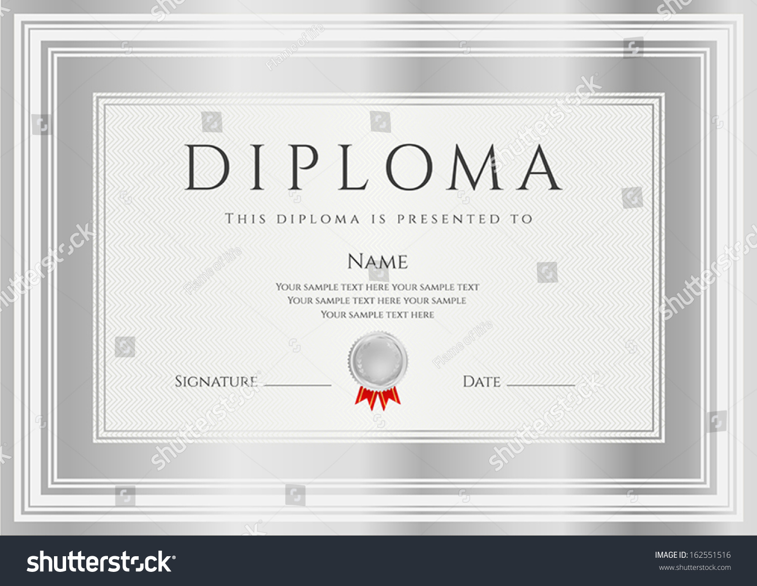 Diploma Certificate Of Completion Design Template