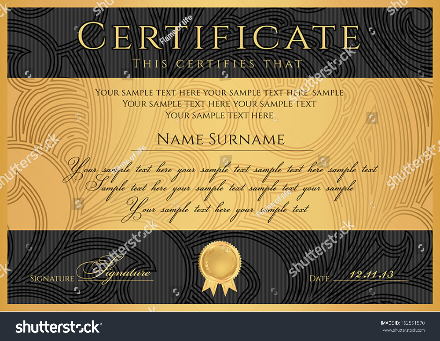 Certificate Diploma Completion Black Design Template Stock ...